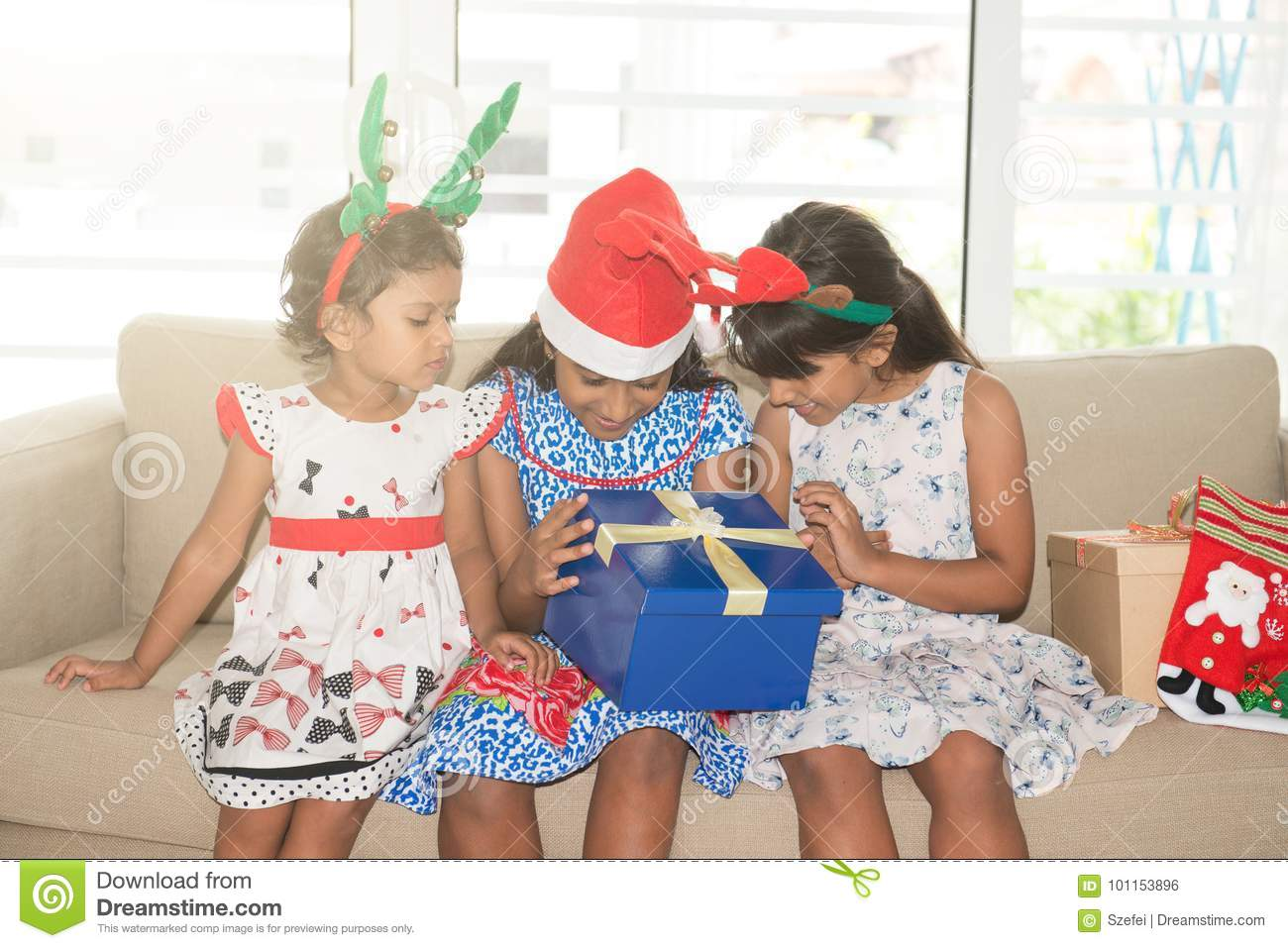 Indian Family And Christmas Gifts Box Stock Photo - Image of