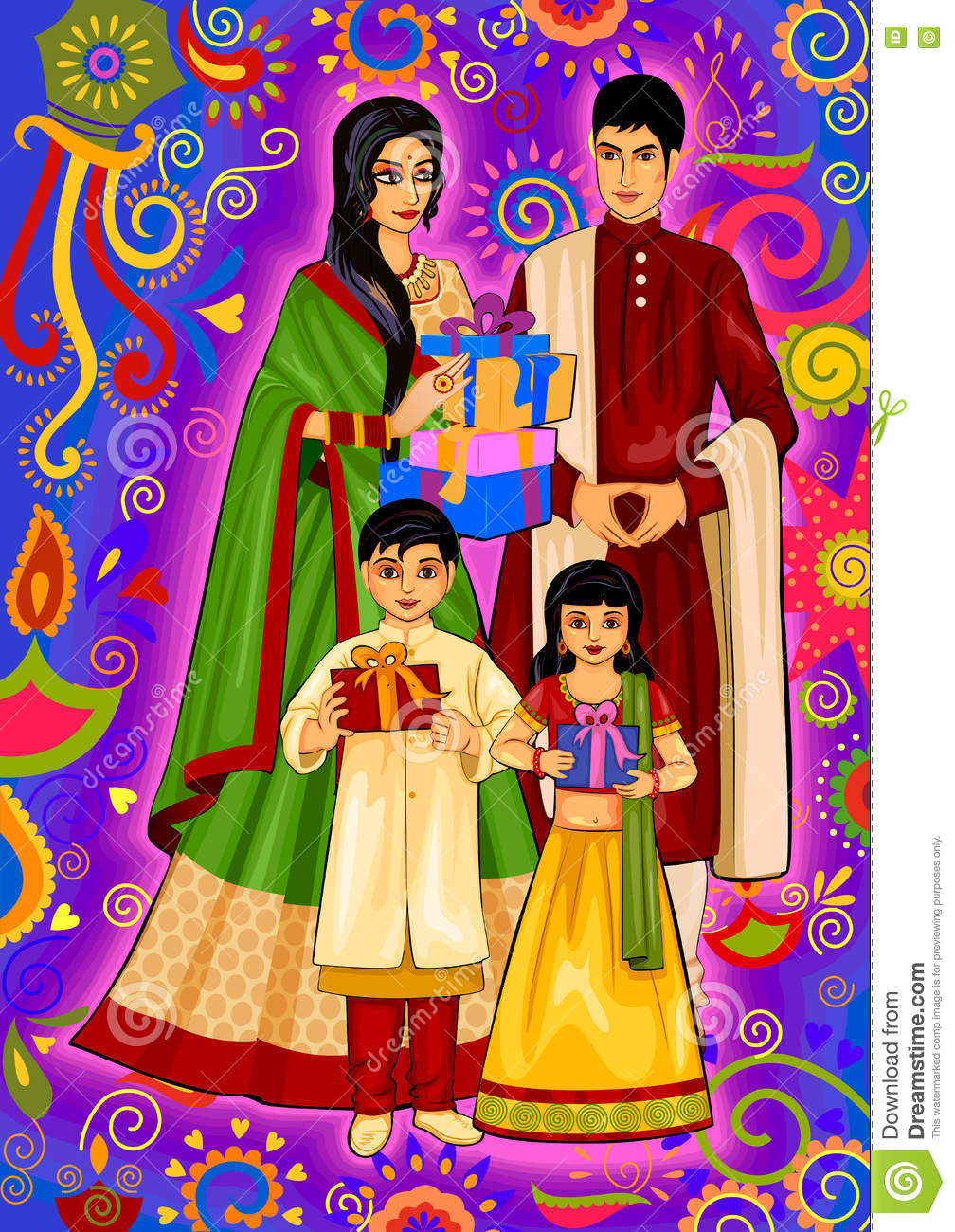 Indian Family With Gift For Diwali Festival Celebration In India ... for Deepavali Celebration Clipart  575cpg