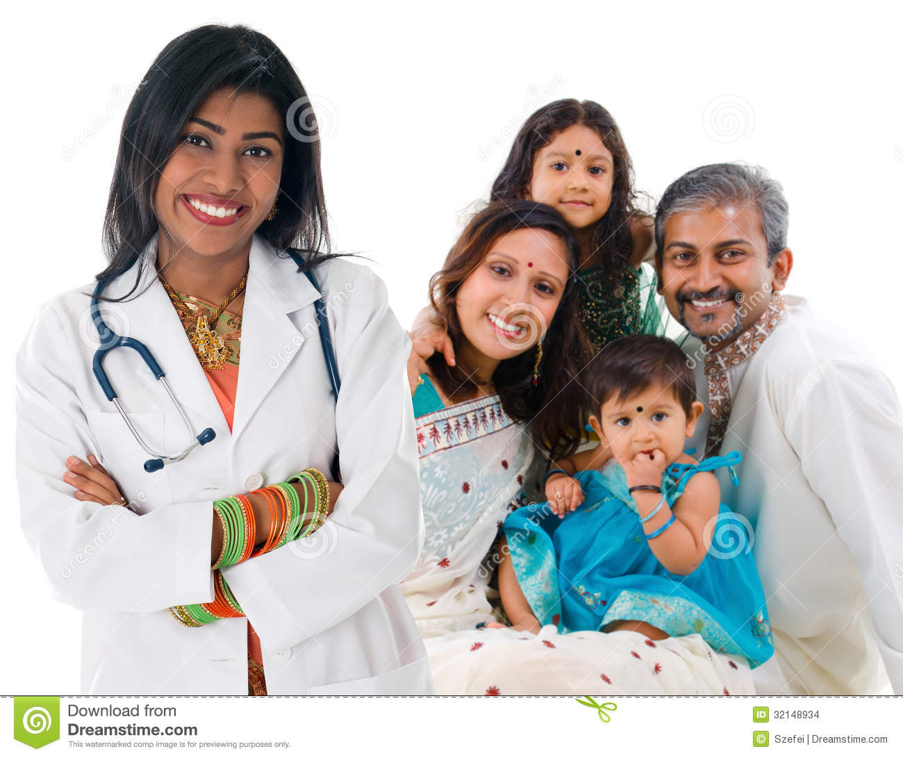 Indian Female Medical Doctor Patient Family Stock Images