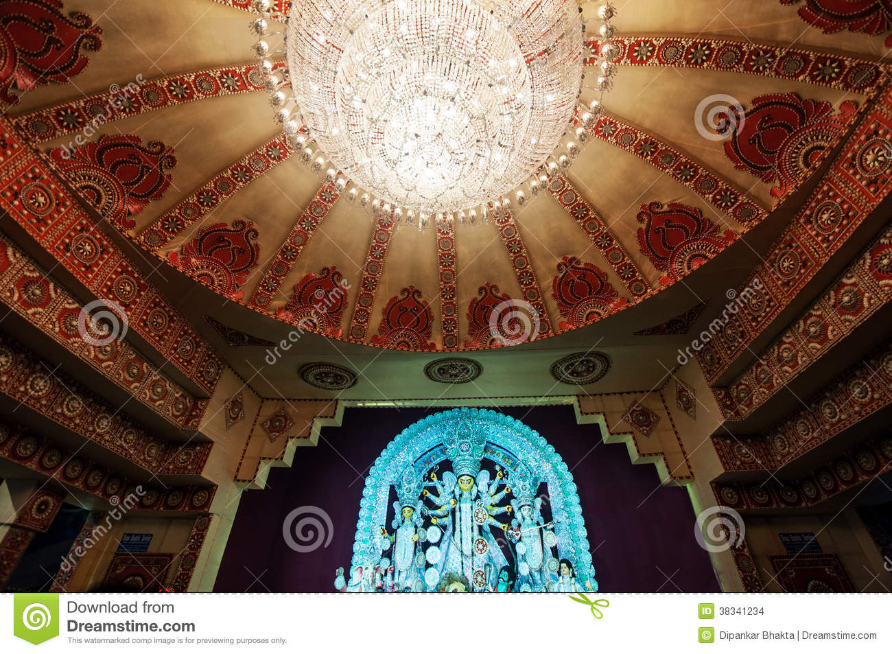 Indian festival durga puja temple interior decoration for All about interior decoration