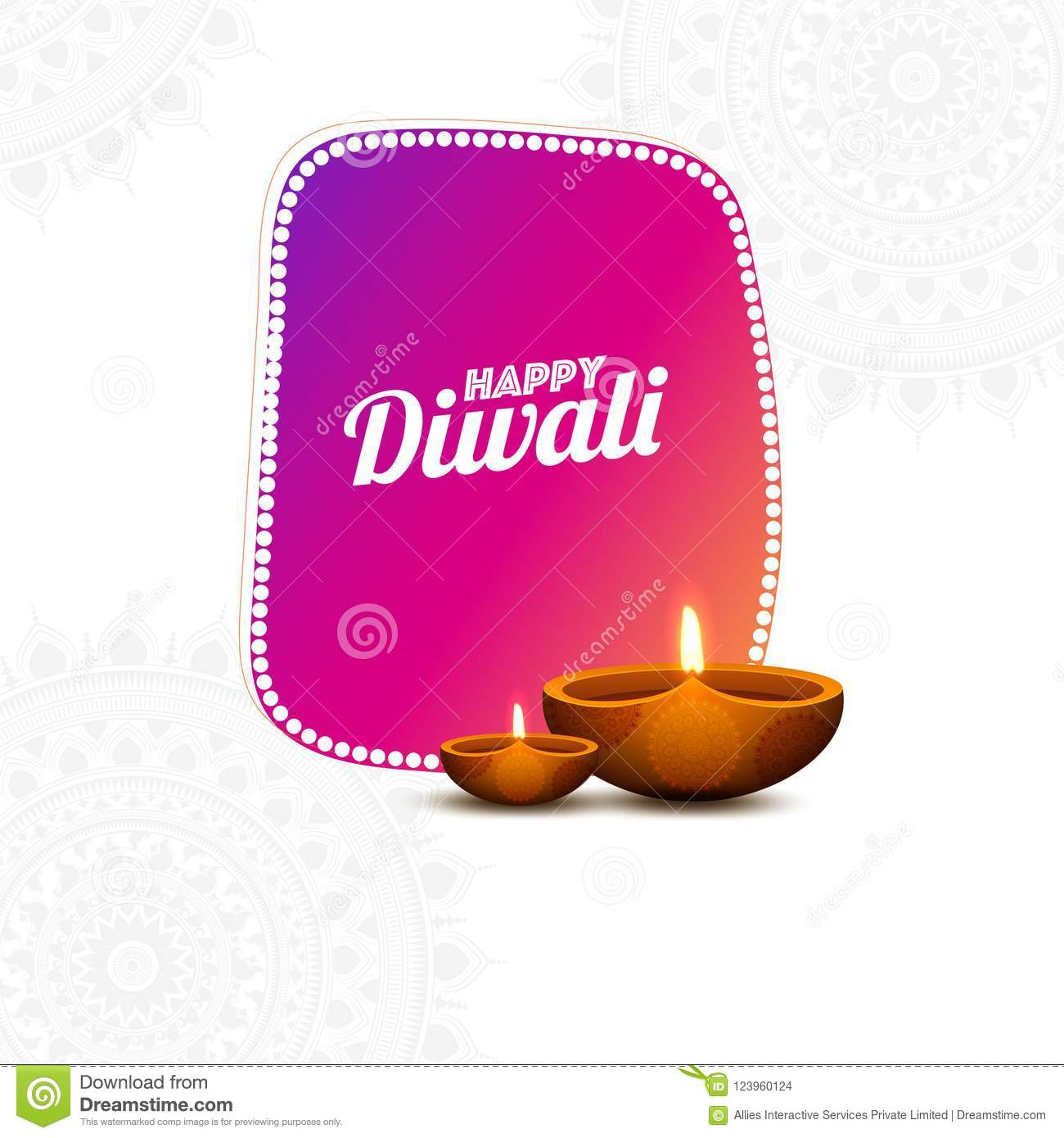 Indian Festival Happy Diwali Greeting Card Design Decorated Wit