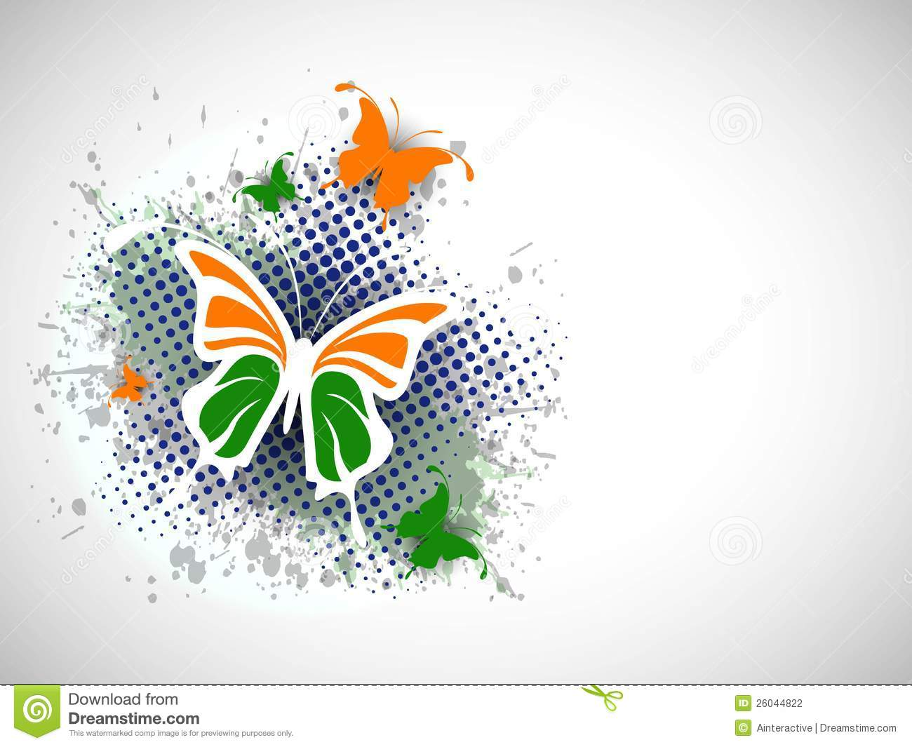 Creative Watercolor Indian Flag Background For Indian: Indian Flag Butterfly On Creative Background. Stock