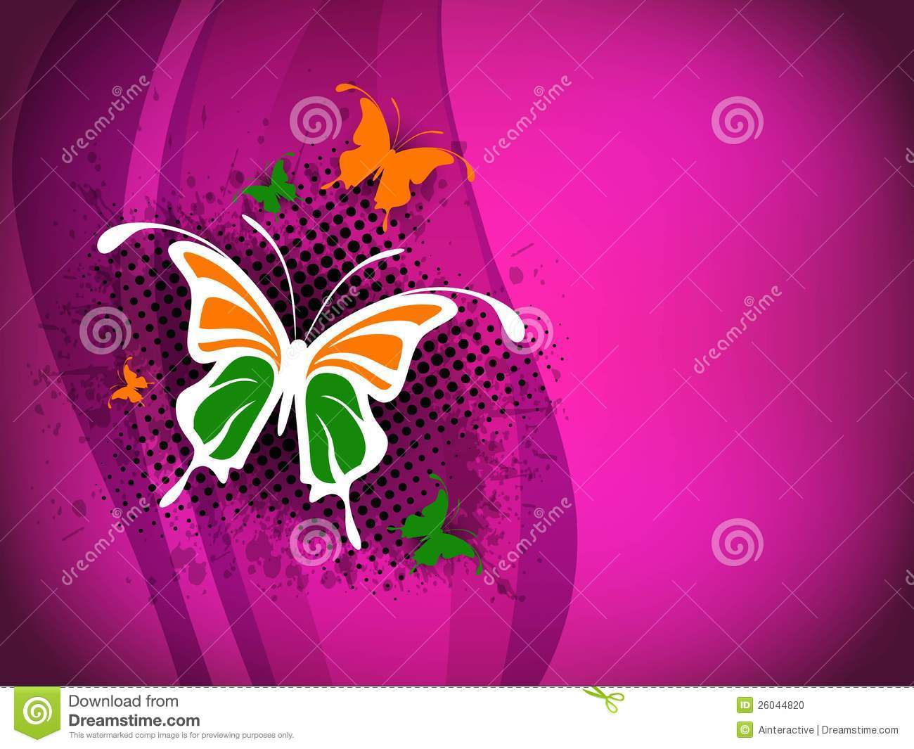 Indian Flag Butterflies: Indian Flag Butterfly On Shiny Pink. Stock Vector