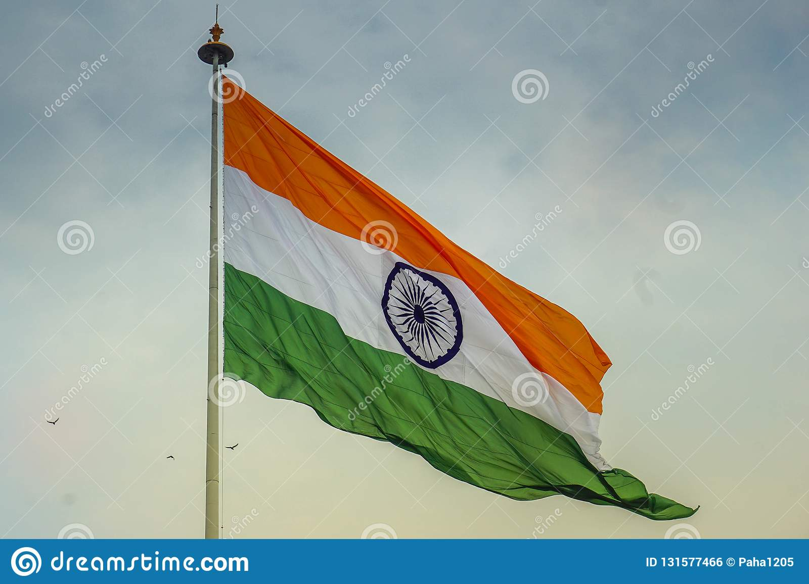 Indian flag waving in the wind