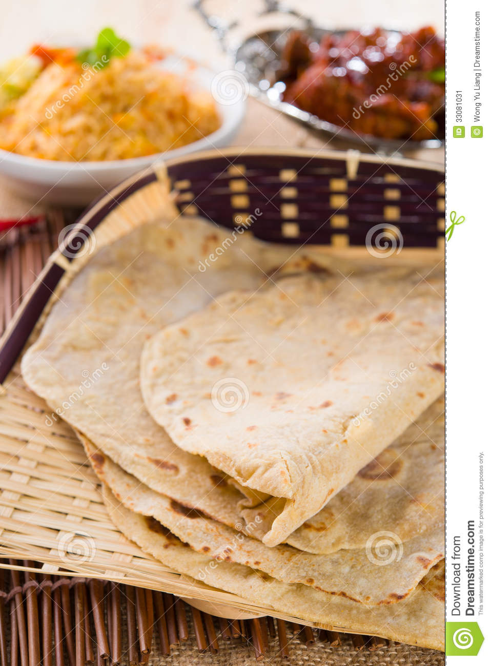 Indian Flat-bread Called Chapati In Basket Stock Image - Image ...