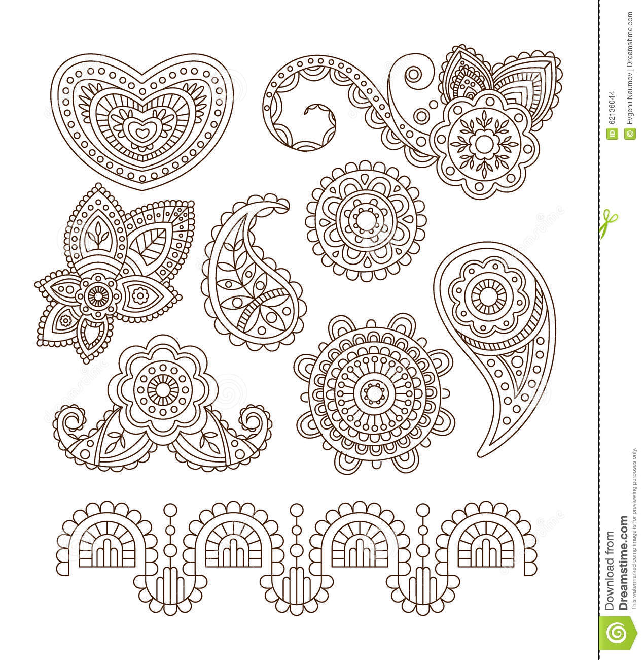 Indian Floral Ornaments Mandala Henna Vector Stock