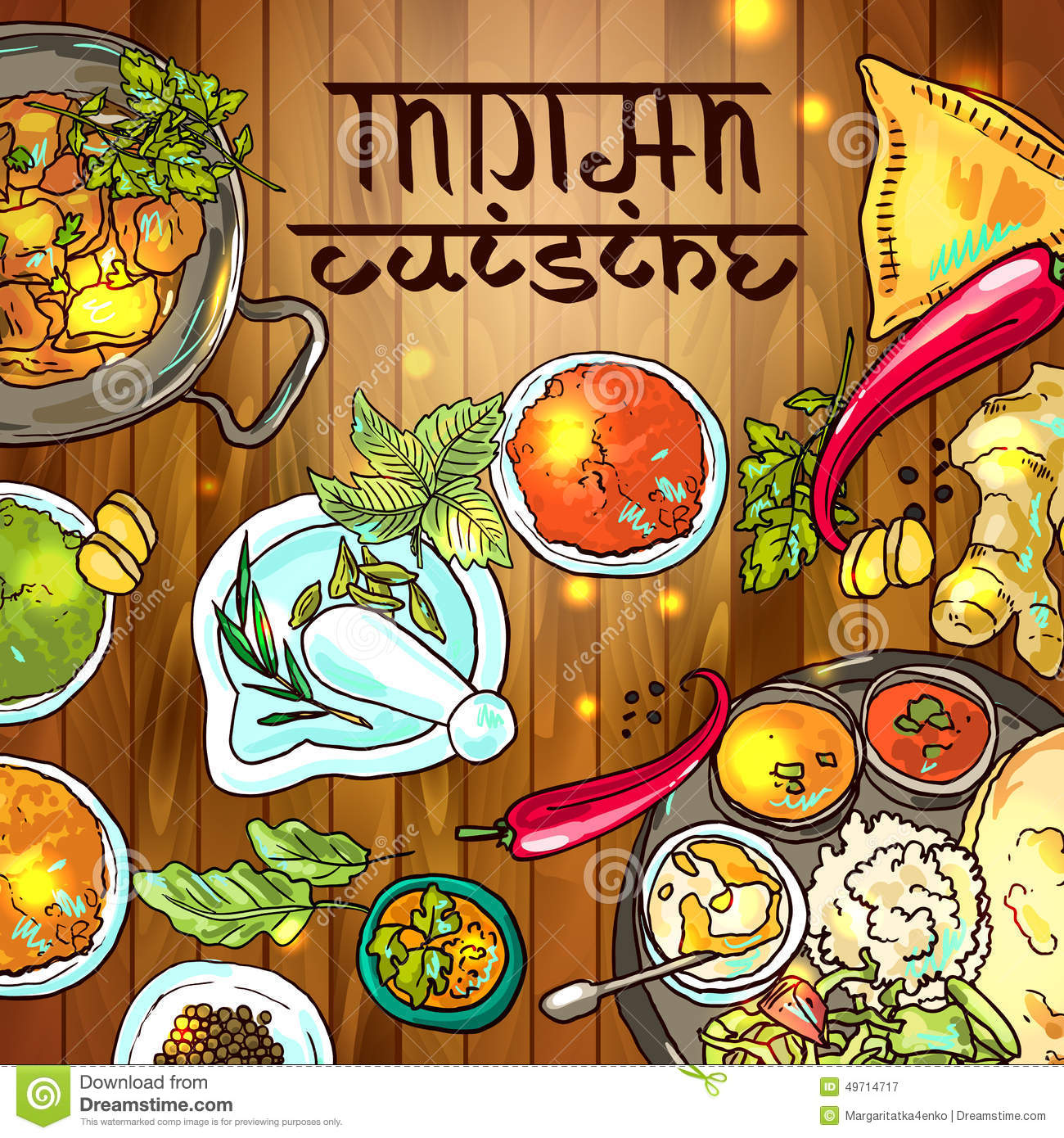 Indian food stock vector image of illustration lettering for Art and appetite american painting culture and cuisine