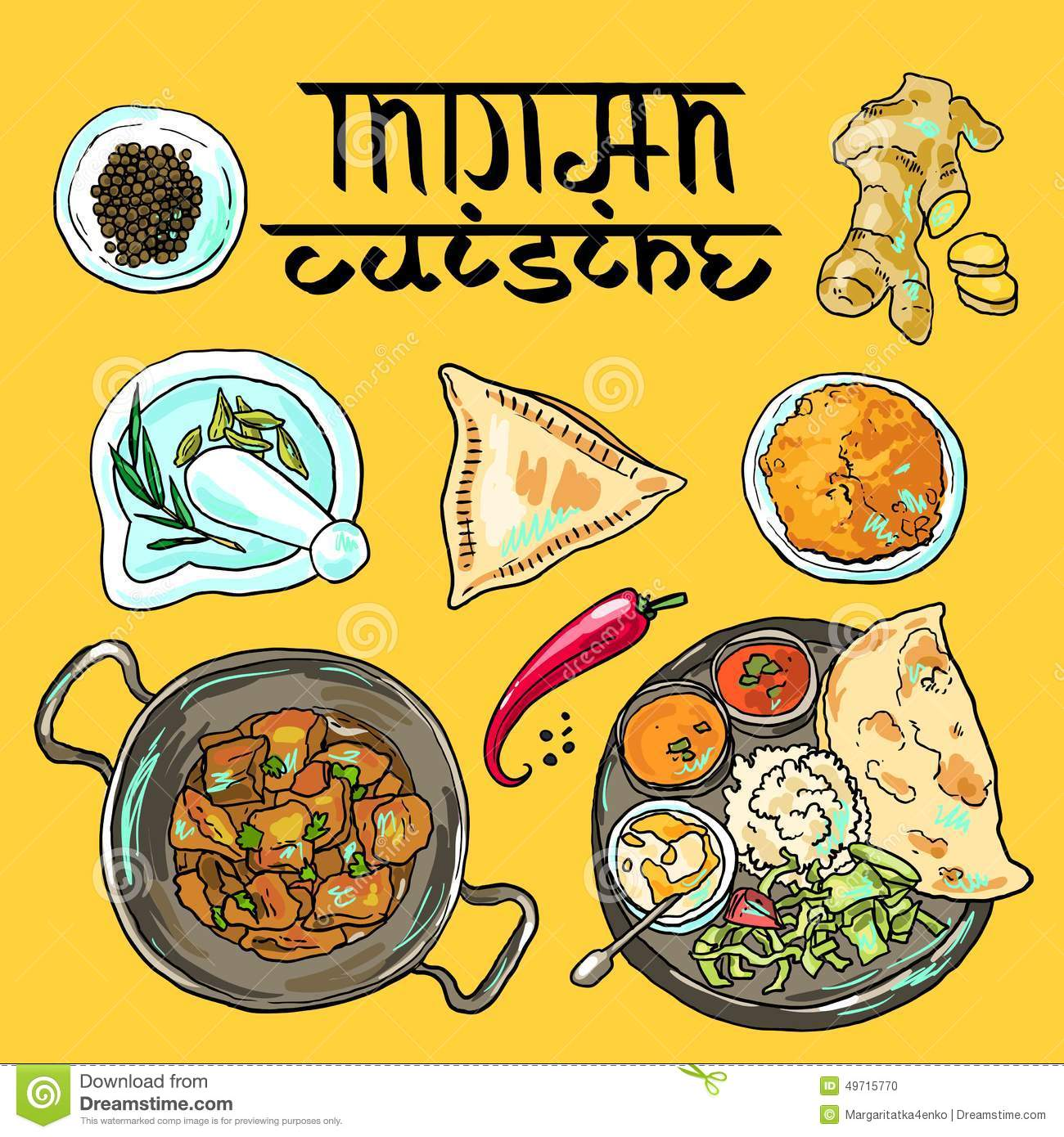 Indian food stock vector illustration of drawing eating 49715770 indian food drawing eating forumfinder Choice Image