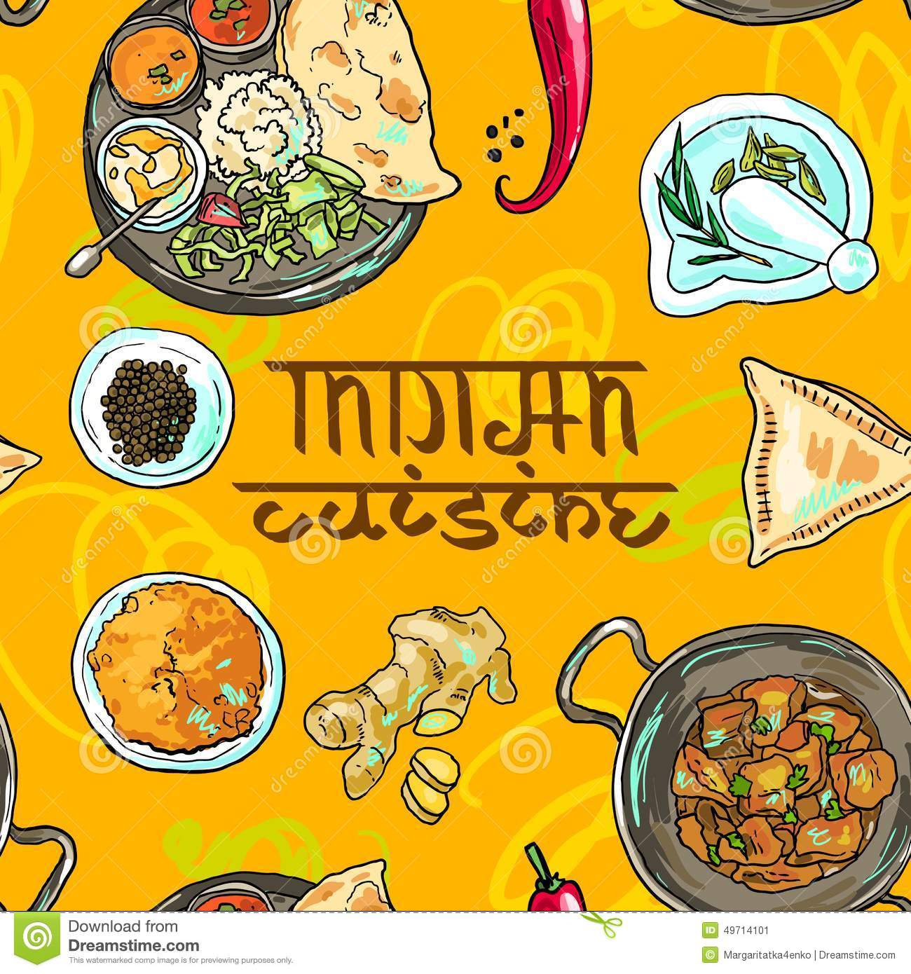 Indian food stock vector illustration of plate pudding 49714101 indian food royalty free vector download forumfinder Choice Image