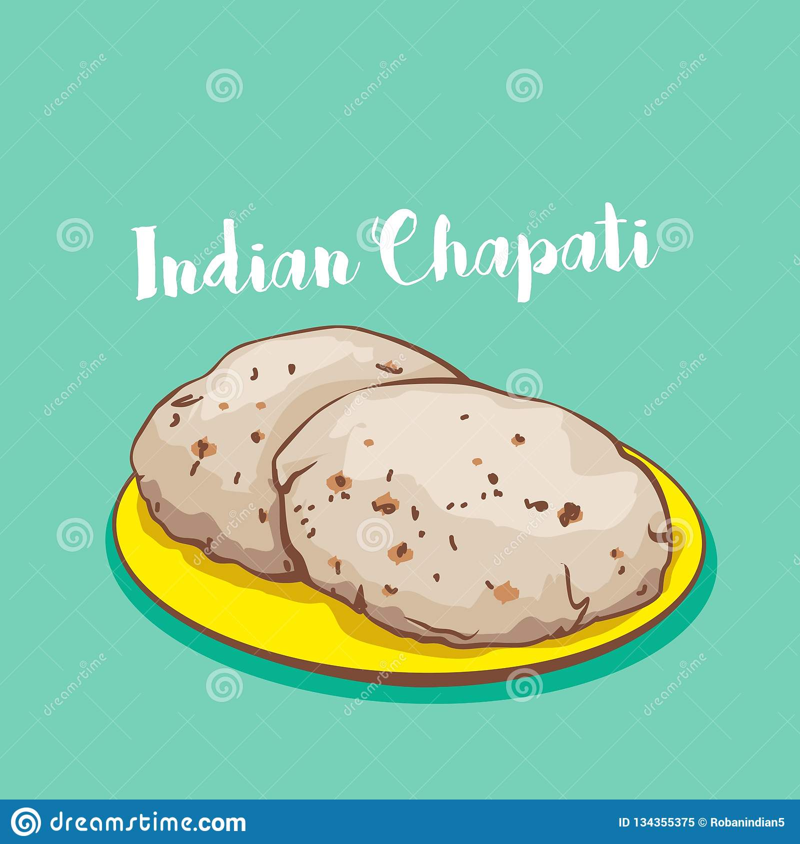 Indian Food Chapati Or Roti Vector Food On Plate Stock ...