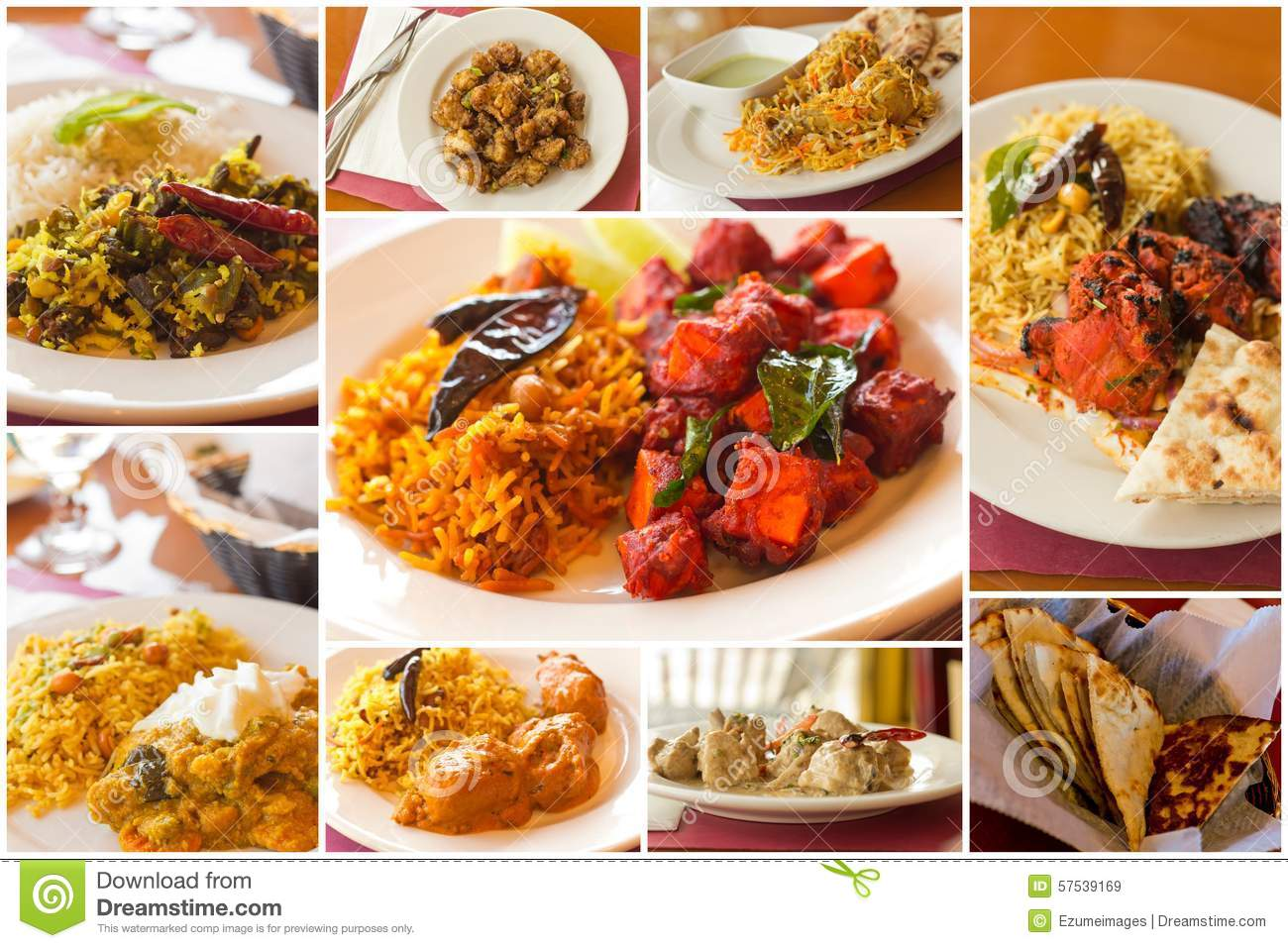 Indian Food Collage Stock Photo Image 57539169