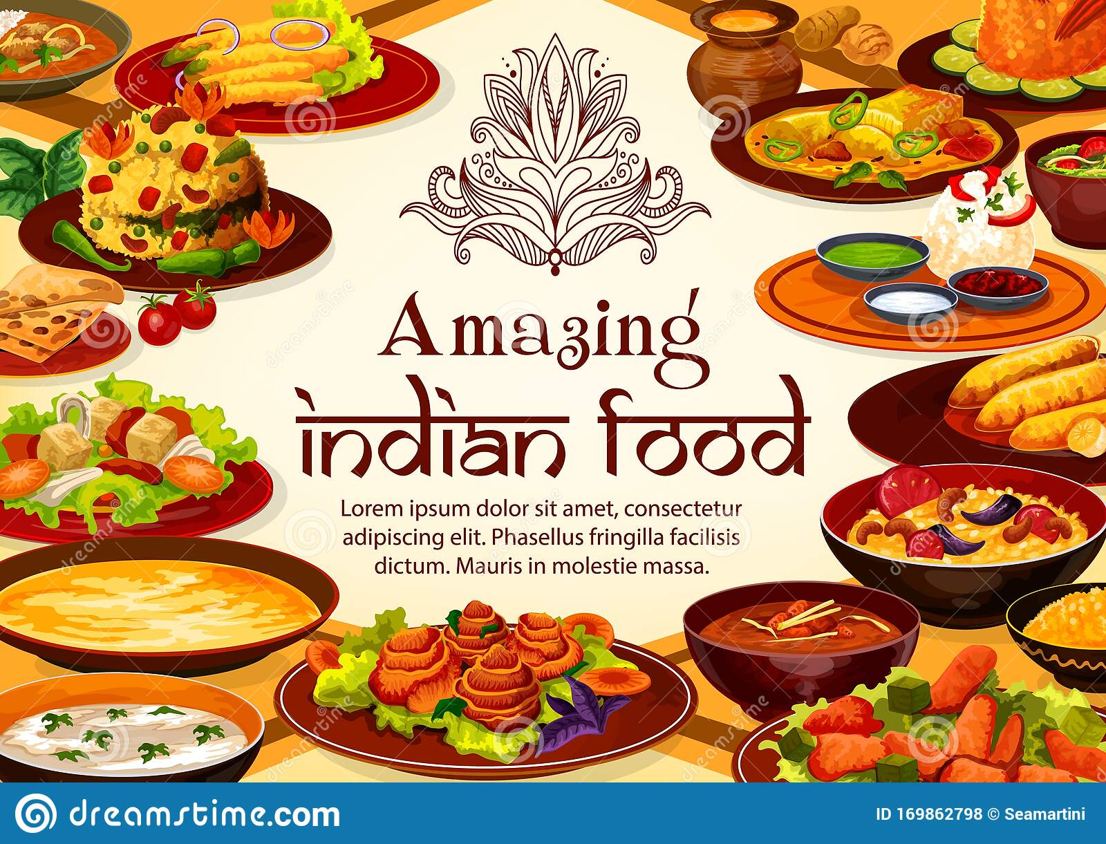 Indian Food Cuisine Dishes Restaurant Menu Cover Stock Vector Illustration Of Gourmet Breakfast 169862798