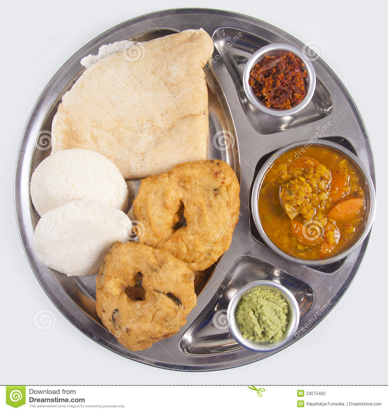 Indian Food Dish ( Vade And Idly And Dosa ) Stock ...