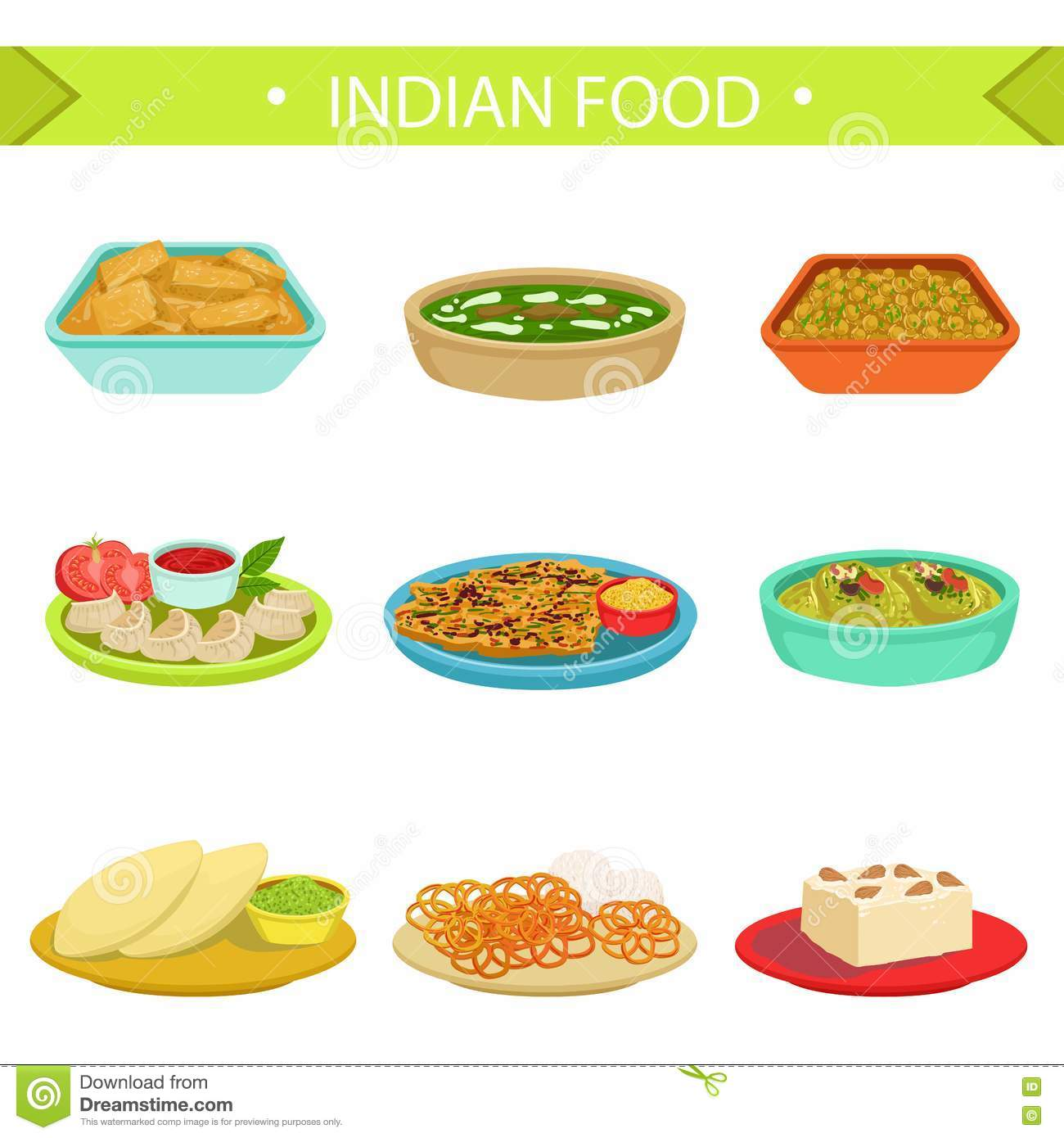 Indian Food Famous Dishes Illustration Set Stock Vector ...