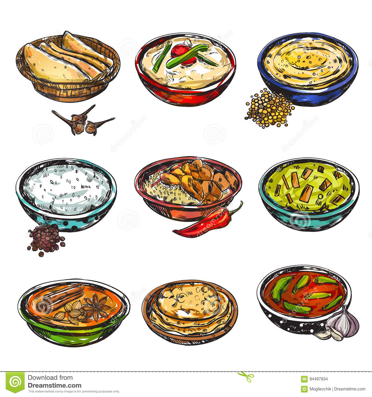Indian food icon set stock vector image 94497834 for Art of indian cuisine