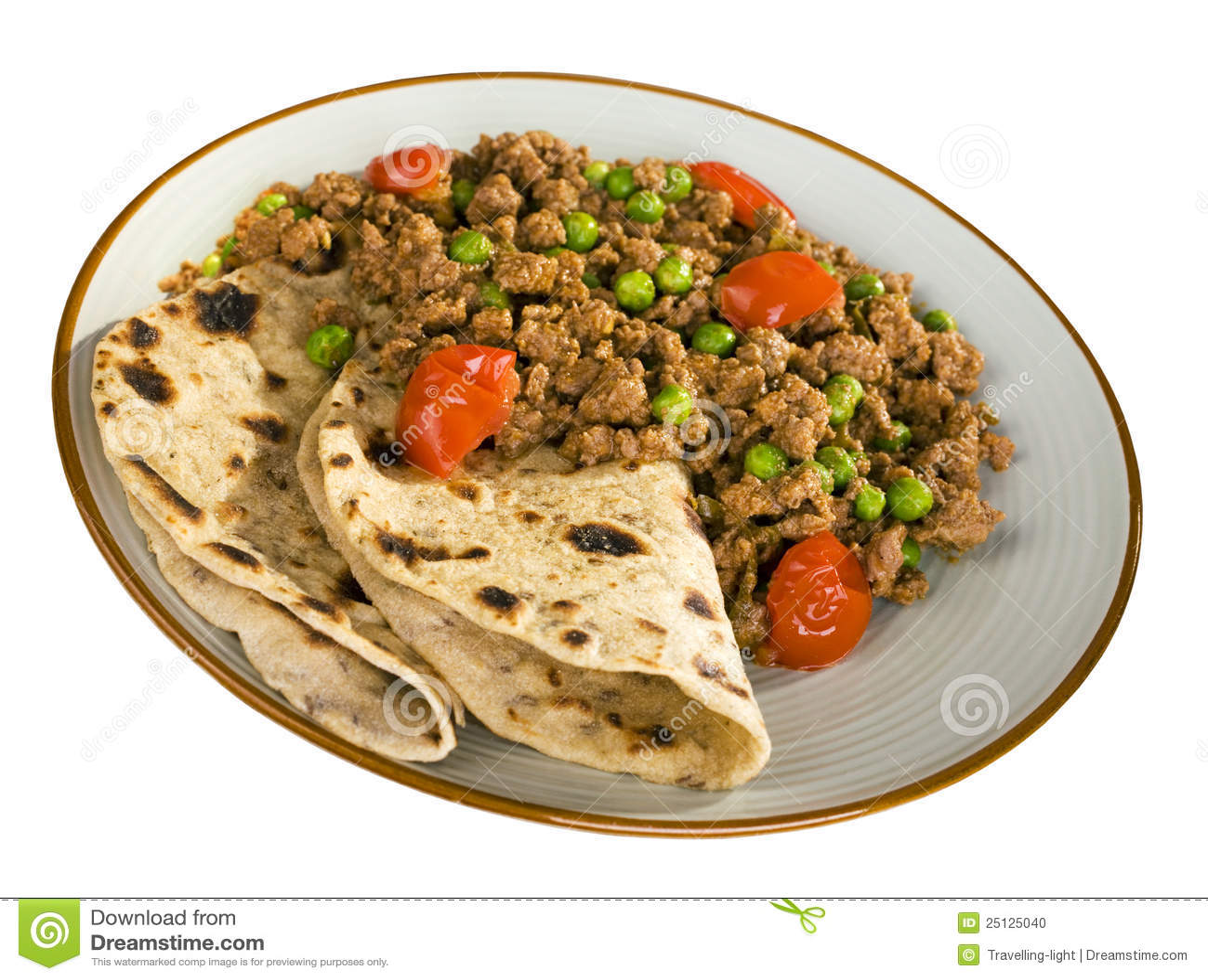 Indian Food Keema And Chapatis Stock Photo - Image: 25125040