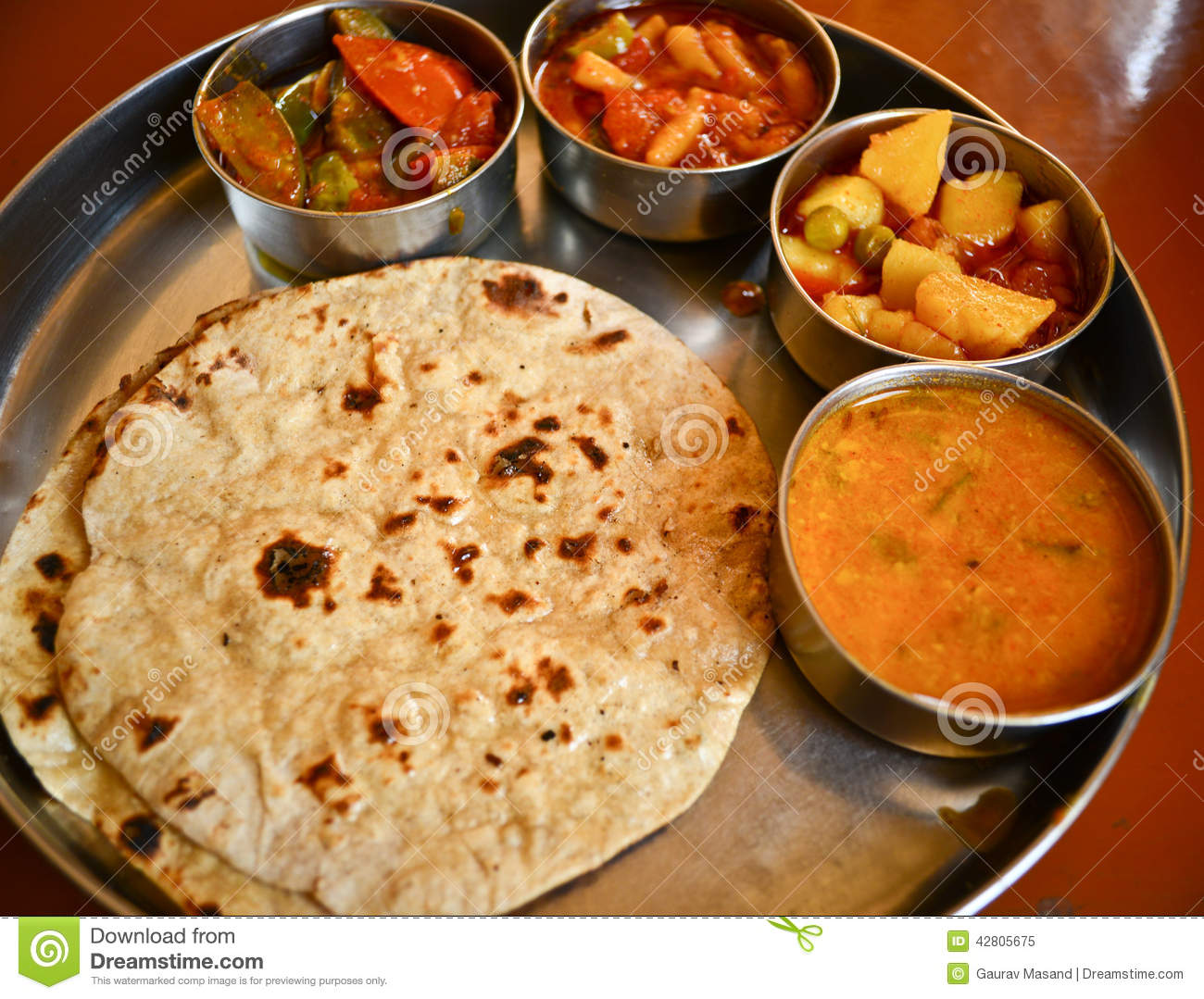 Indian food stock image image of salad naan rice dinner 42805675 - Different indian cuisines ...