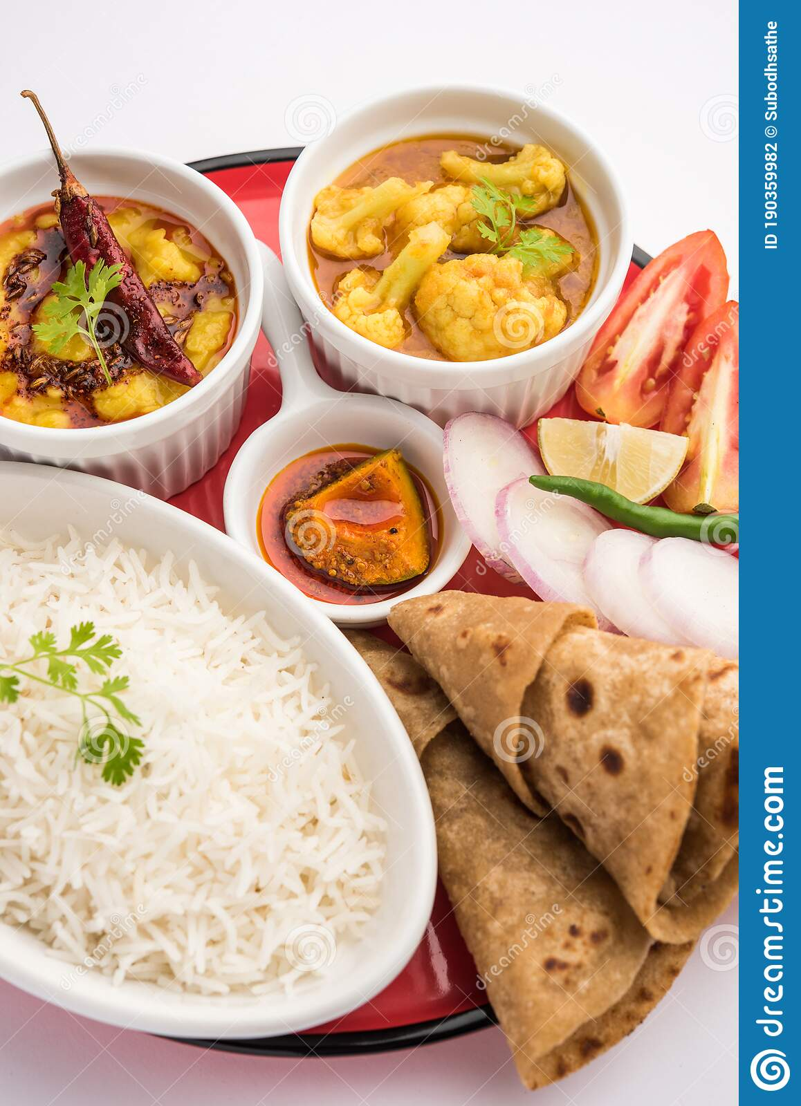 Indian Food Platter Or Thali Contains Vegetarian Recipes A Complete Meal Stock Photo Image Of Maharashtra Cuisine 190359982