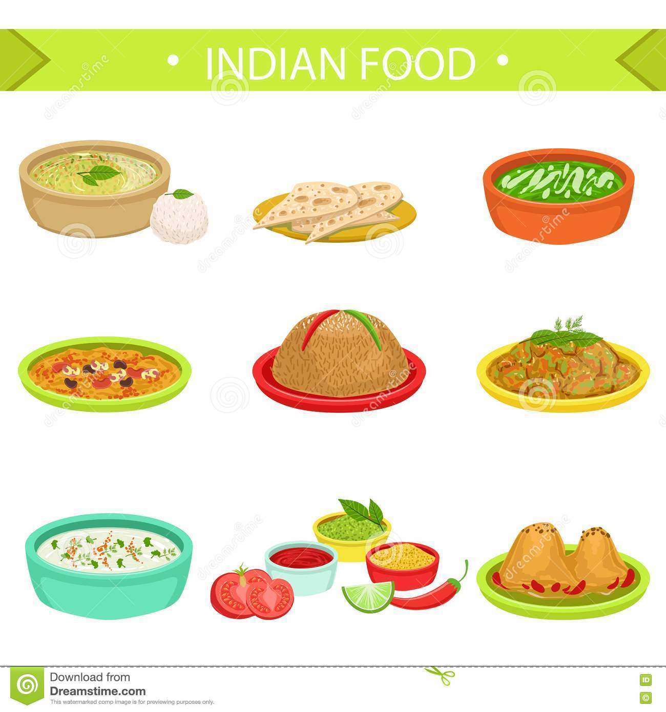 Indian food signature dishes illustration set stock vector for Art of indian cuisine