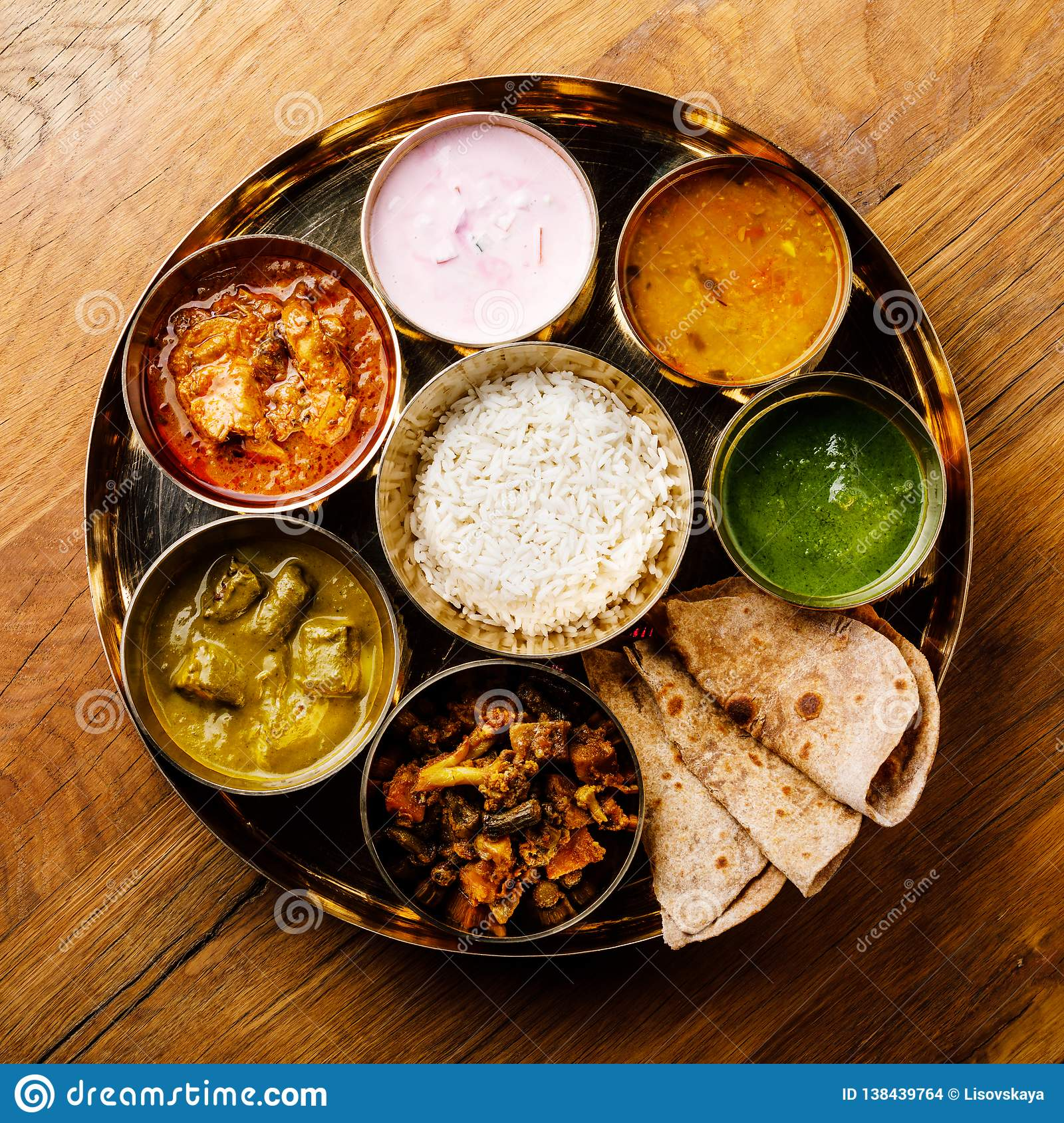 Indian food Thali Indian-style meal with chicken meat