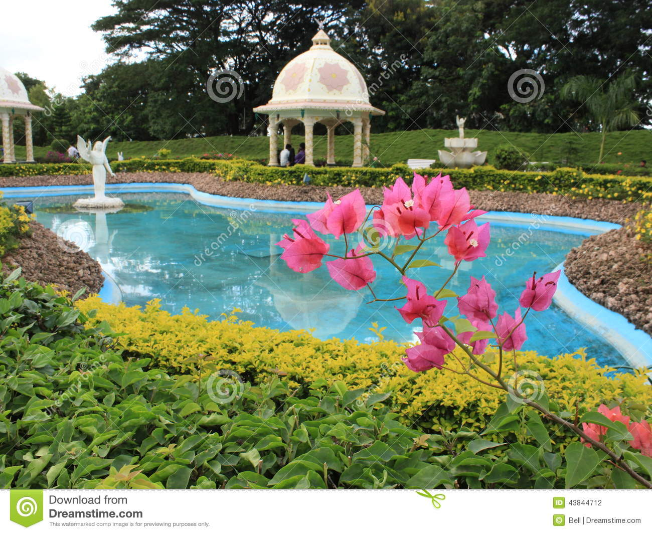 landscaped indian garden with pond stock photo image