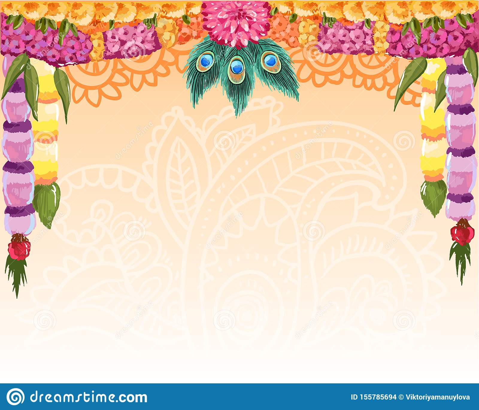 Indian garland background, great design with place for text. Vector card, banner