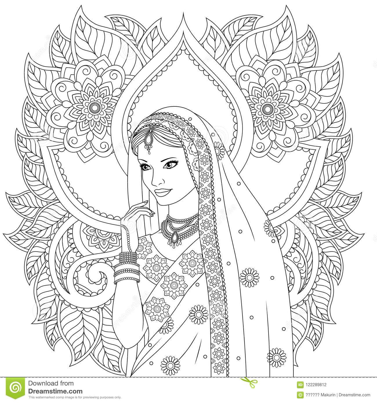 Vector illustration indian beautiful girl dancing on white background indian patterns coloringn