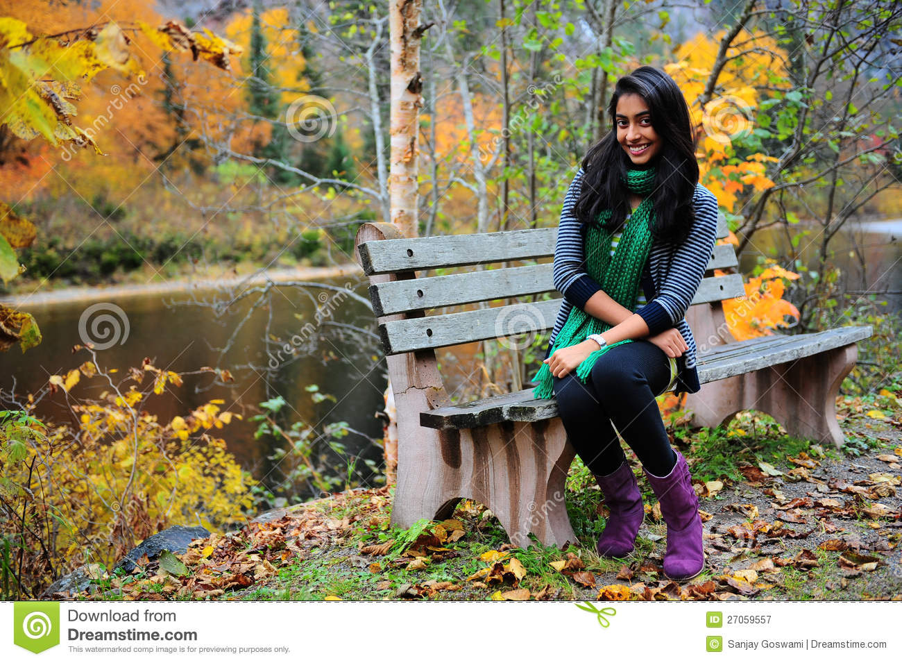 indian girl in fall season stock image image of bench
