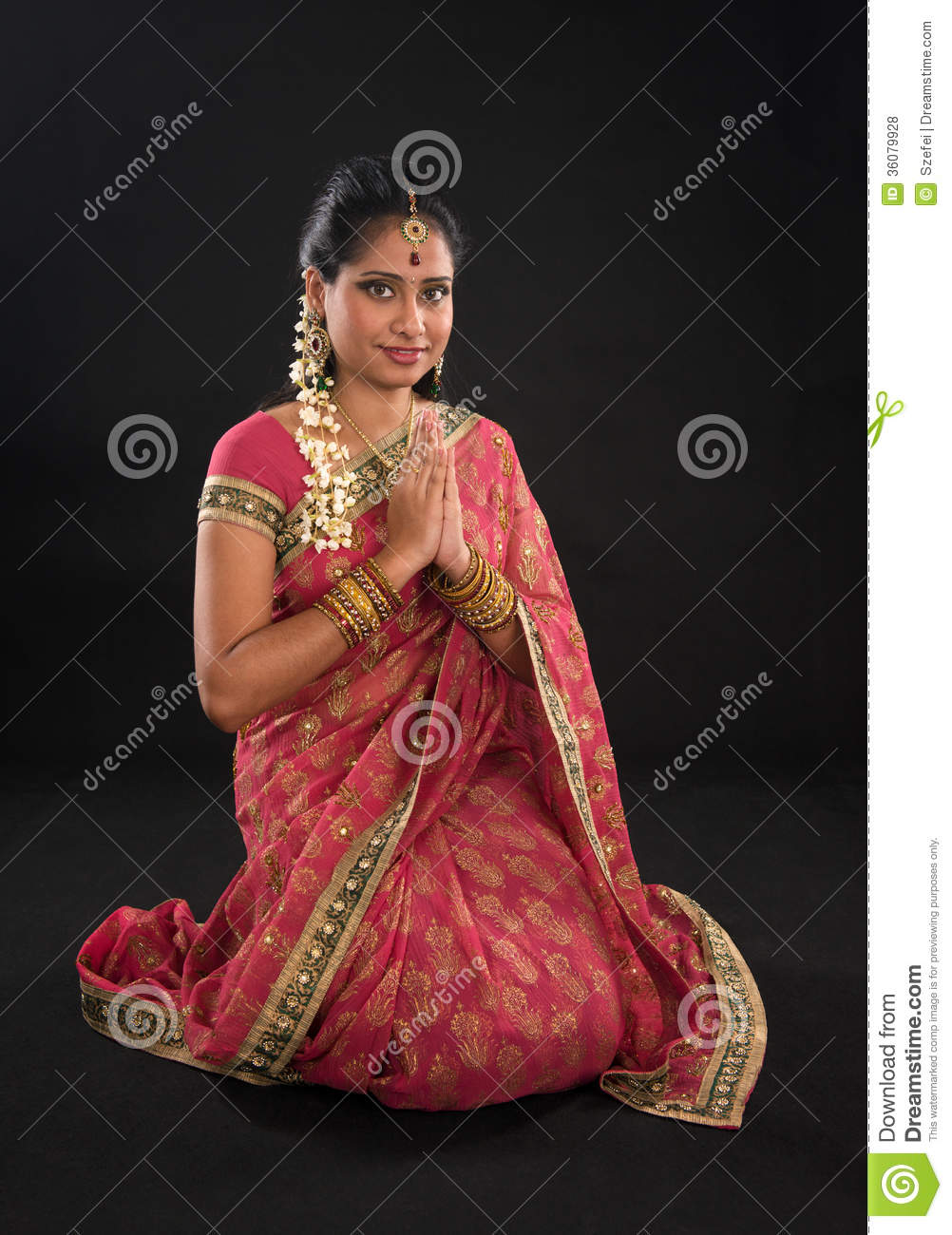 indian girl in a greeting pose royalty free stock photos