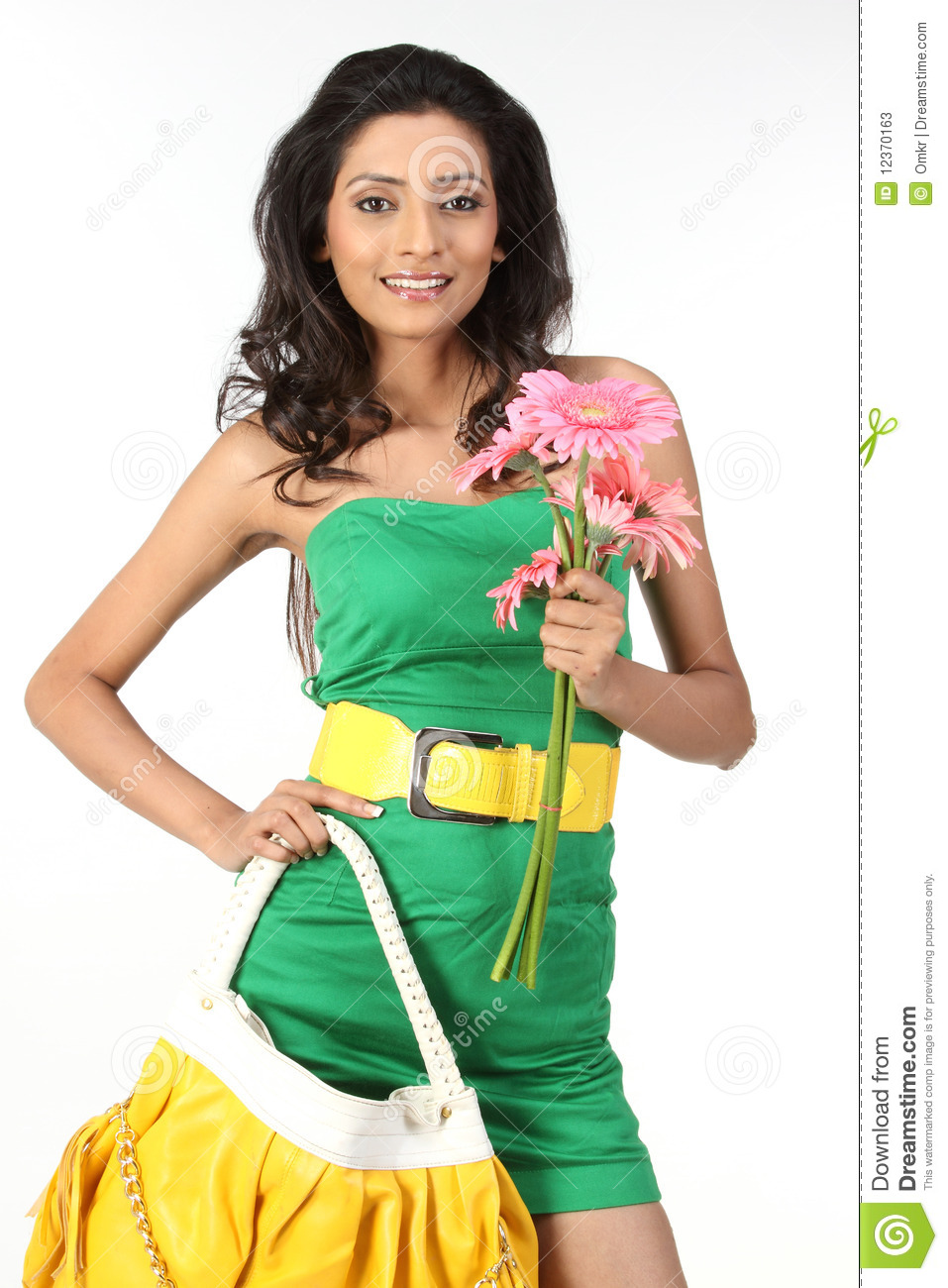 Indian Girl With Handbag And Daisy Flowers Stock Image Image Of