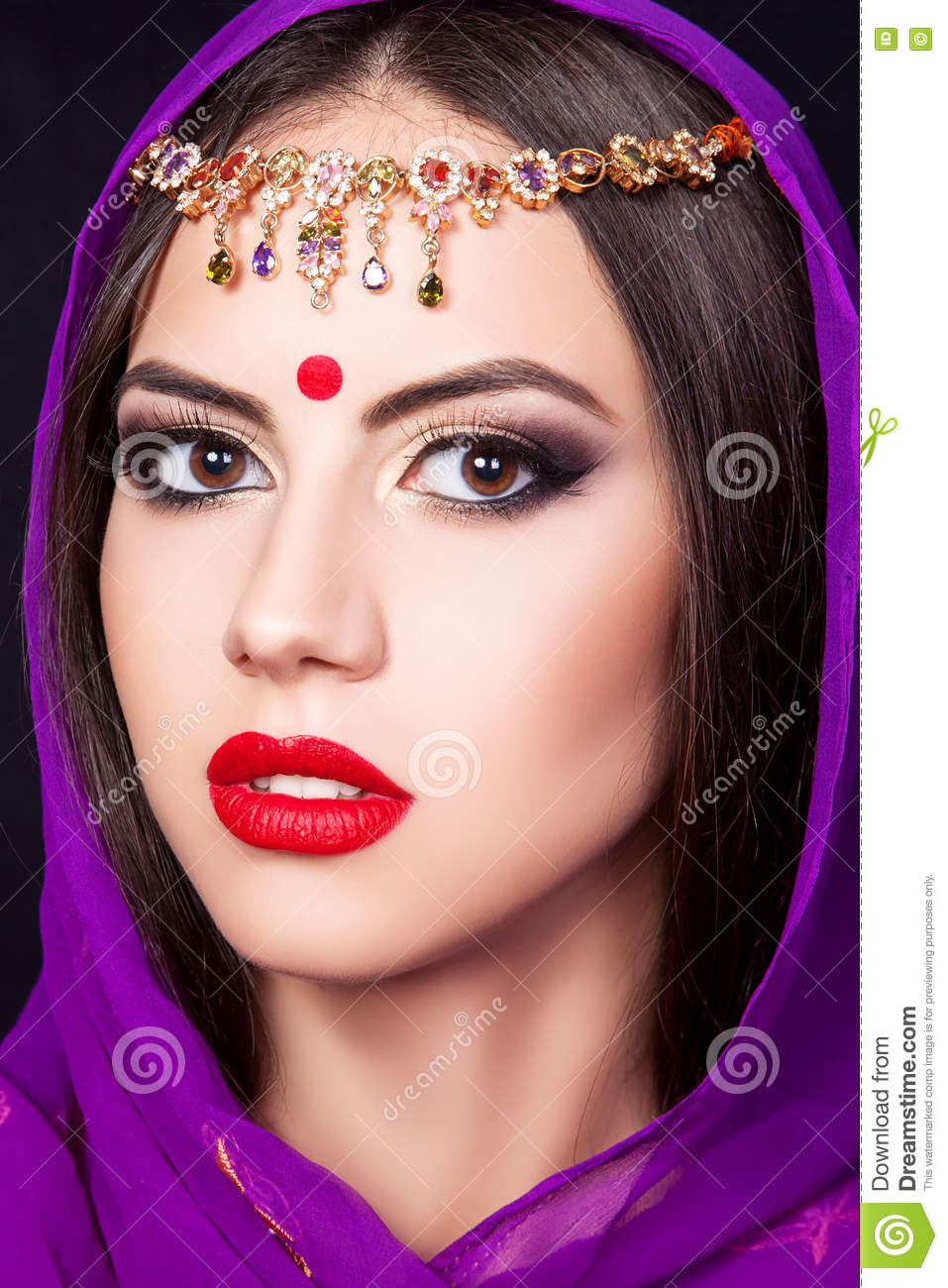Indian Girl In The Image Of A Beautiful Makeup Stock Image