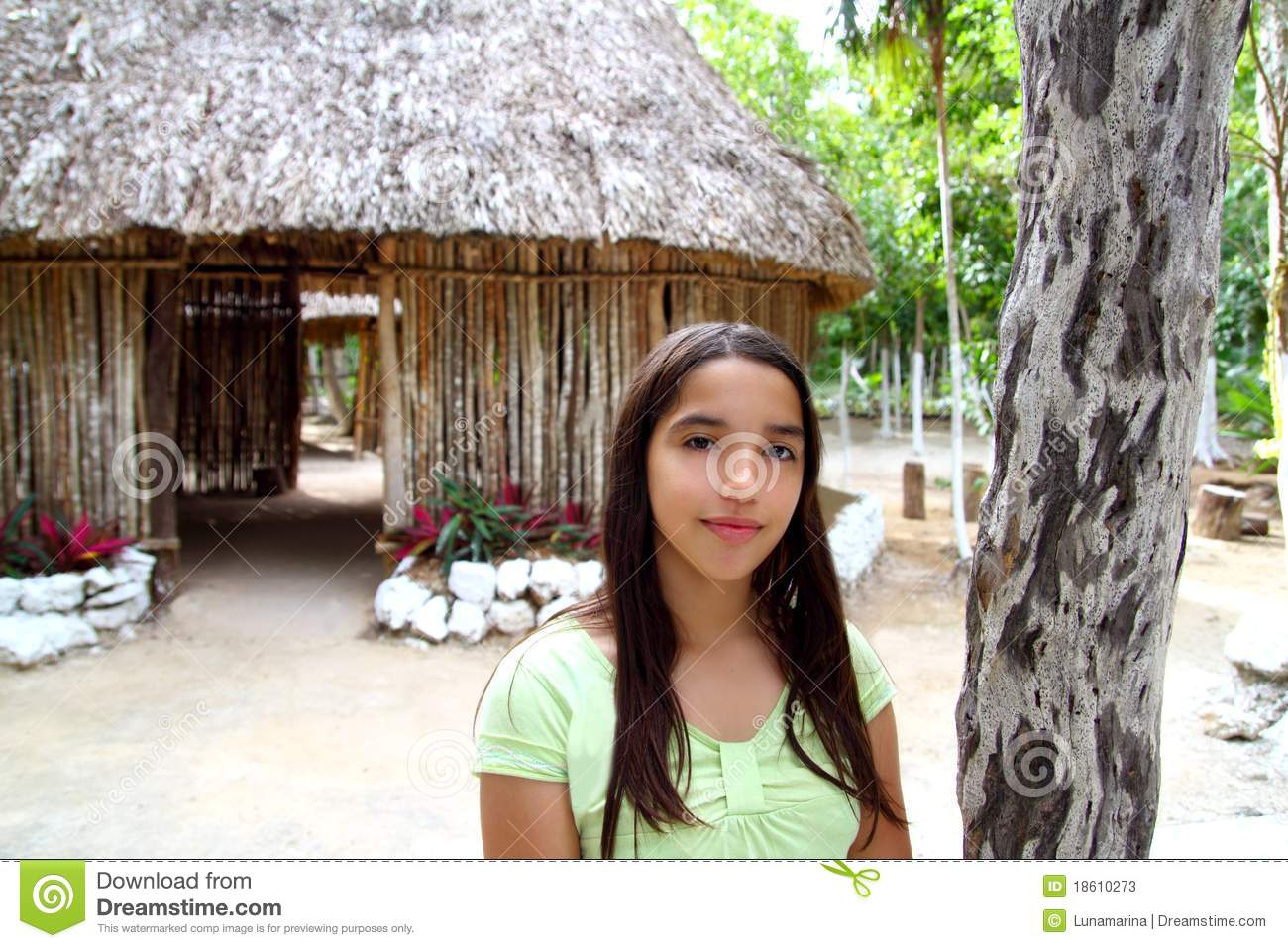 Indian Girl In Jungle Palapa Hut House Rainforest Stock -7893