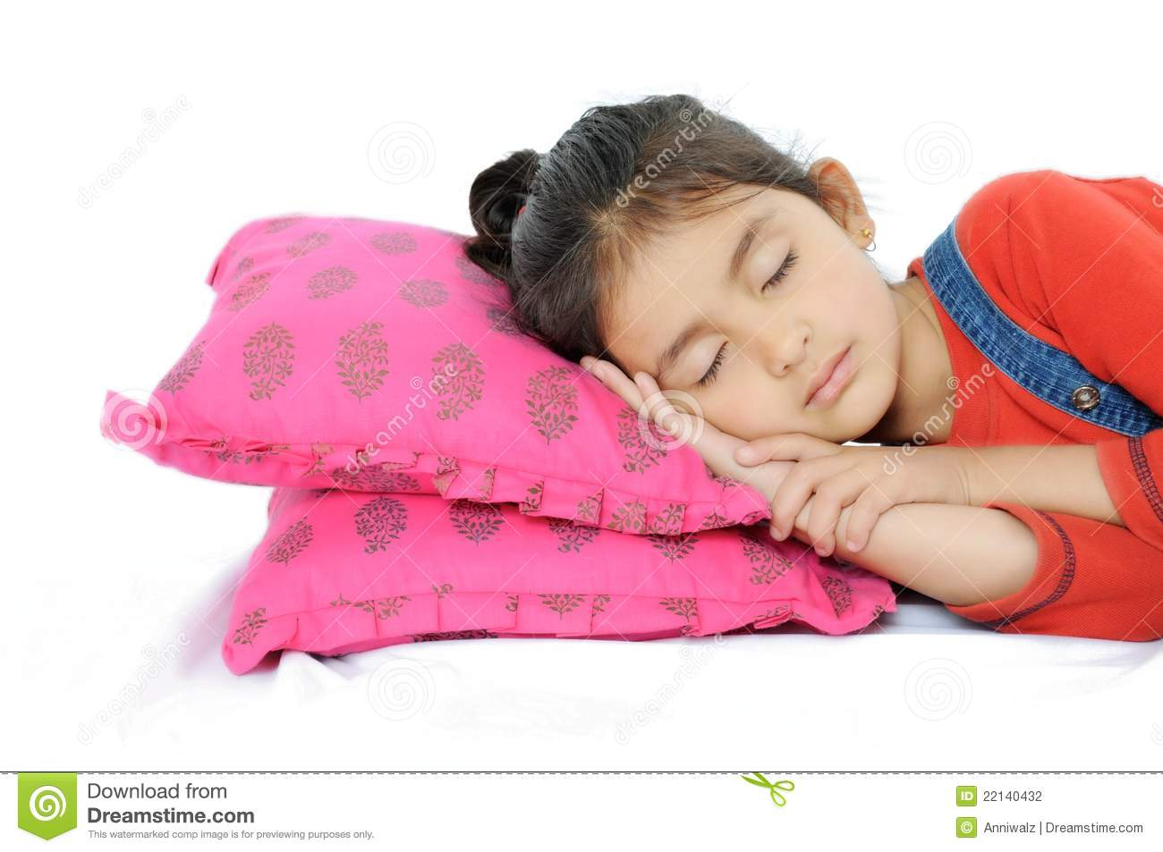 Indian Girl Sleeping Over Pillow Stock Photography -6456