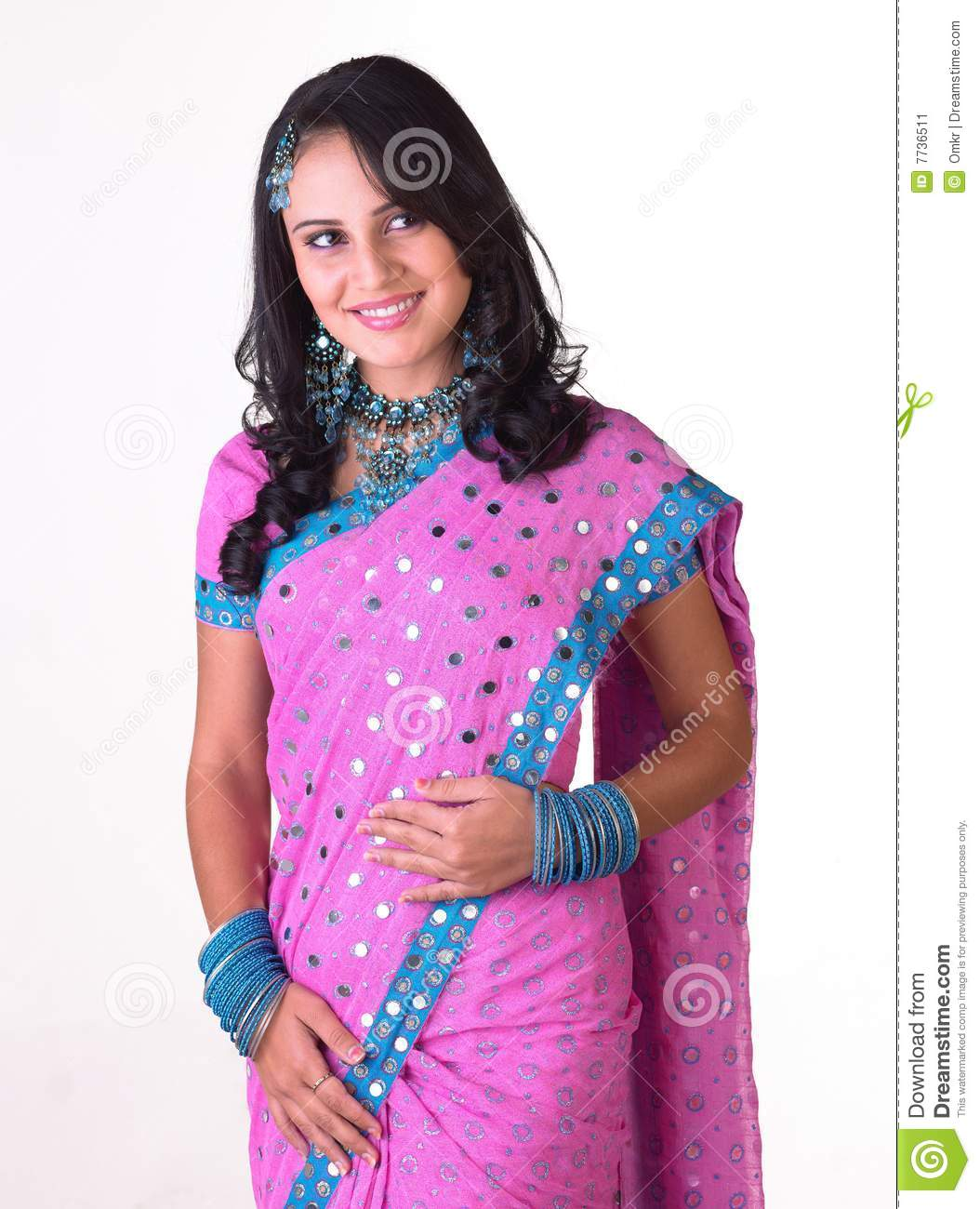 Indian Girl Standing With Free Hairstyle Stock Image