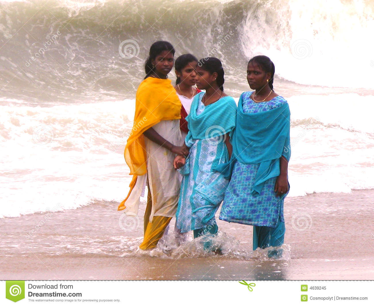 of indian ocean in Chennai, Tamil Nadu, was hited by Tsunami. Girls ...