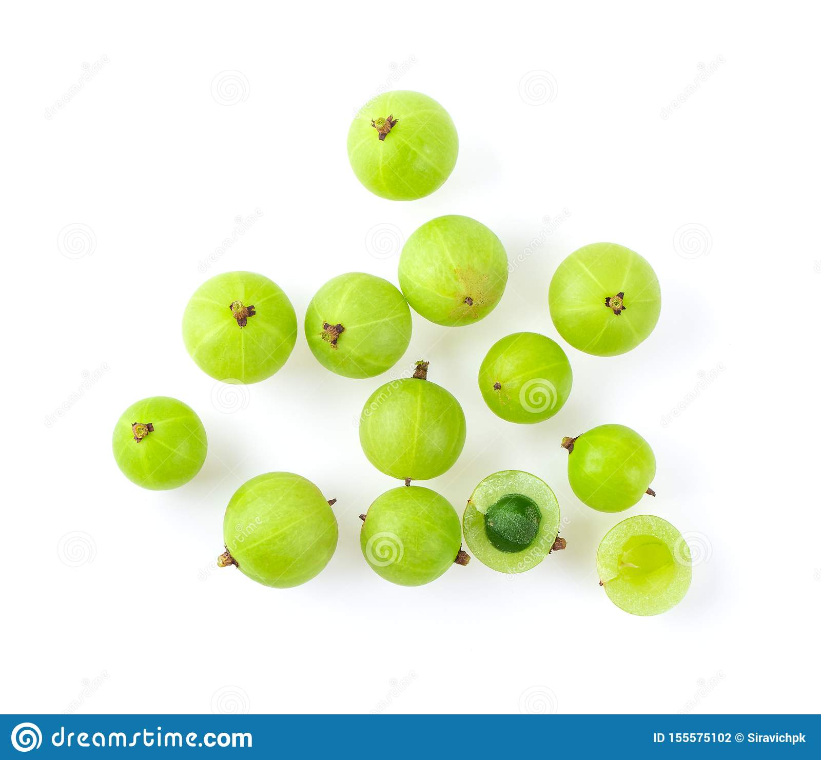 Indian gooseberry on white background.