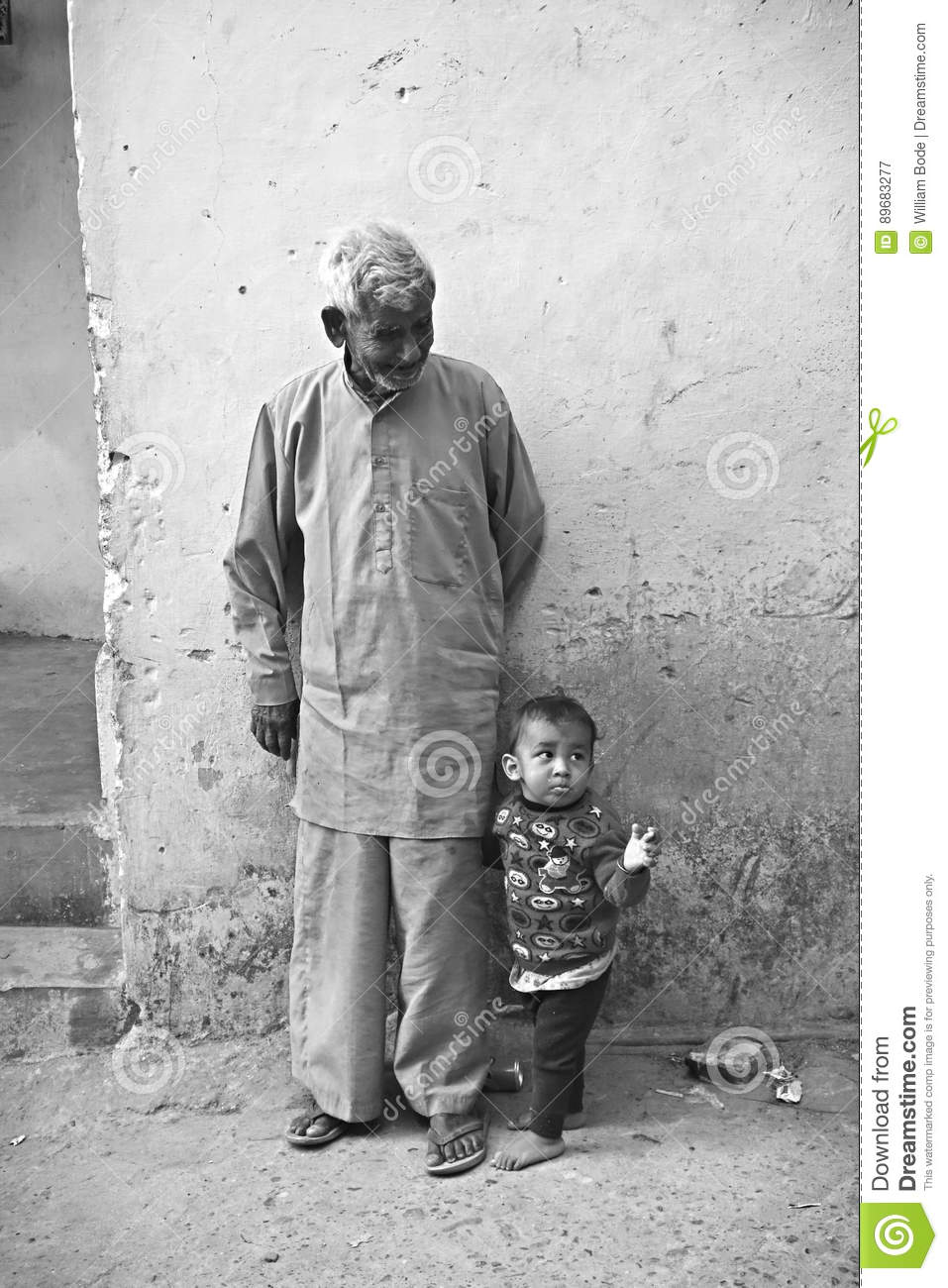 Indian grandpa and grandchild editorial photography image of