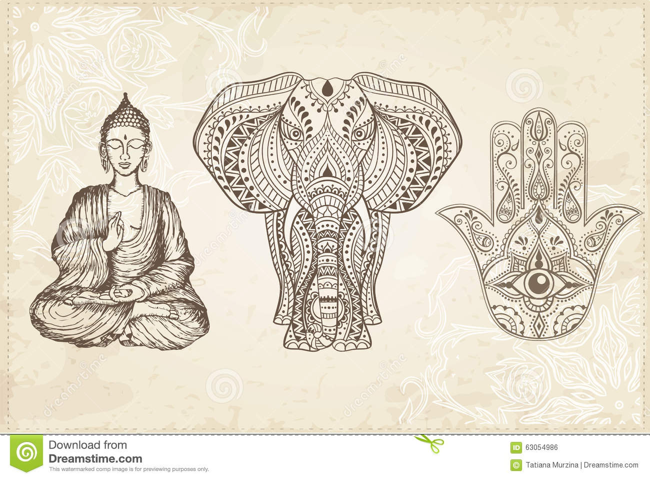 Indian Hand Drawn Hamsa With All Seeing Eye Stock Illustration Image 63054986