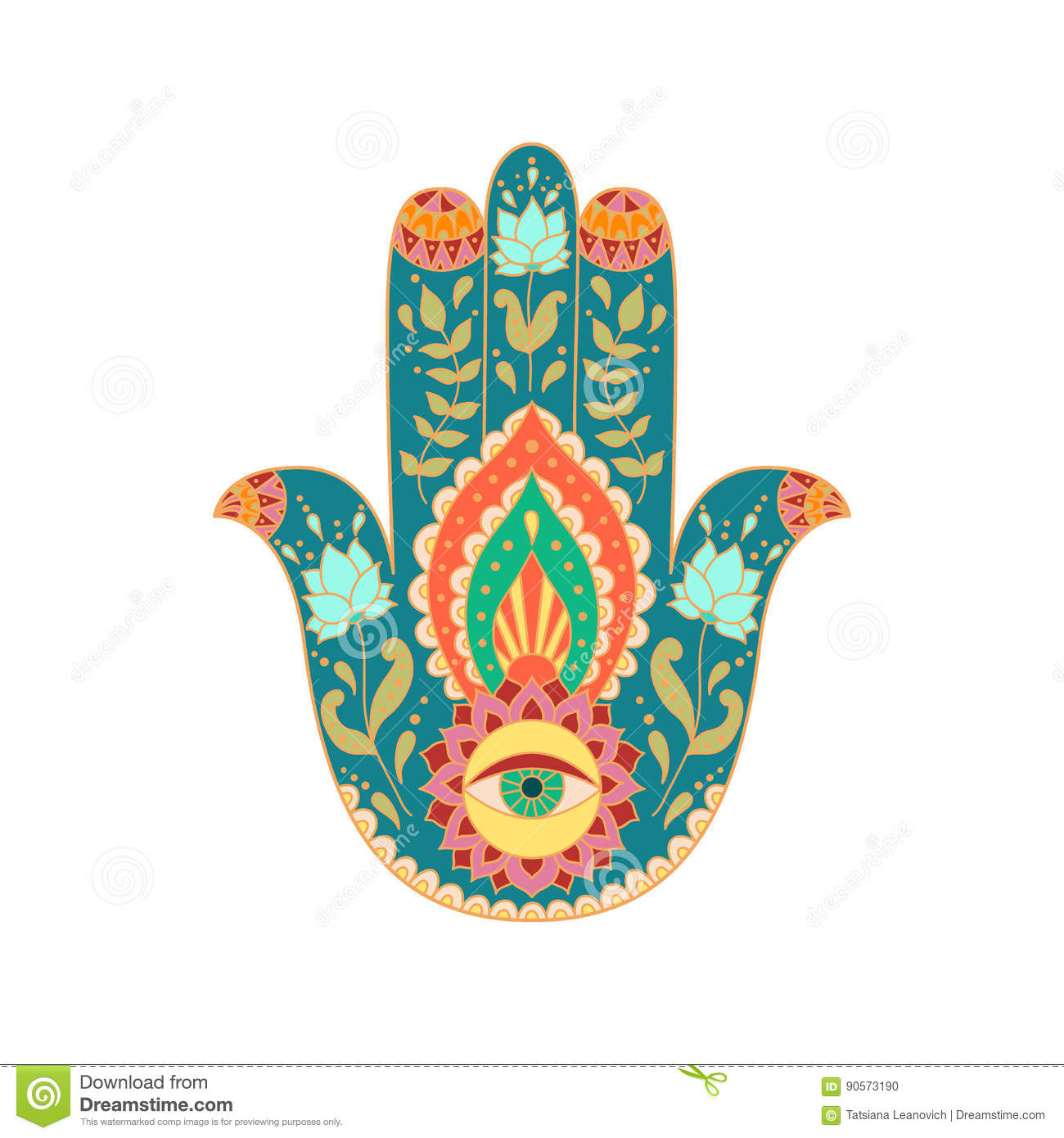 Indian Hand Drawn Hamsa Hand Stock Vector Illustration Of East