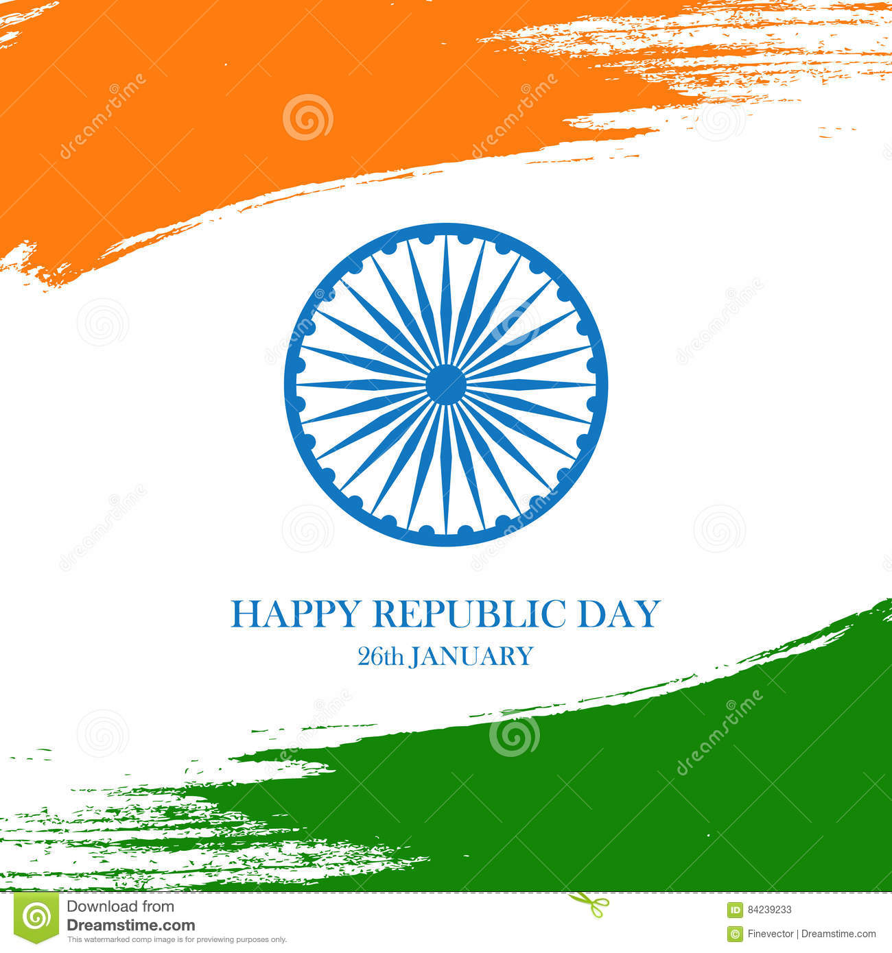 Indian happy republic day greeting card with ashoka wheel and brush download indian happy republic day greeting card with ashoka wheel and brush strokes in the colors m4hsunfo