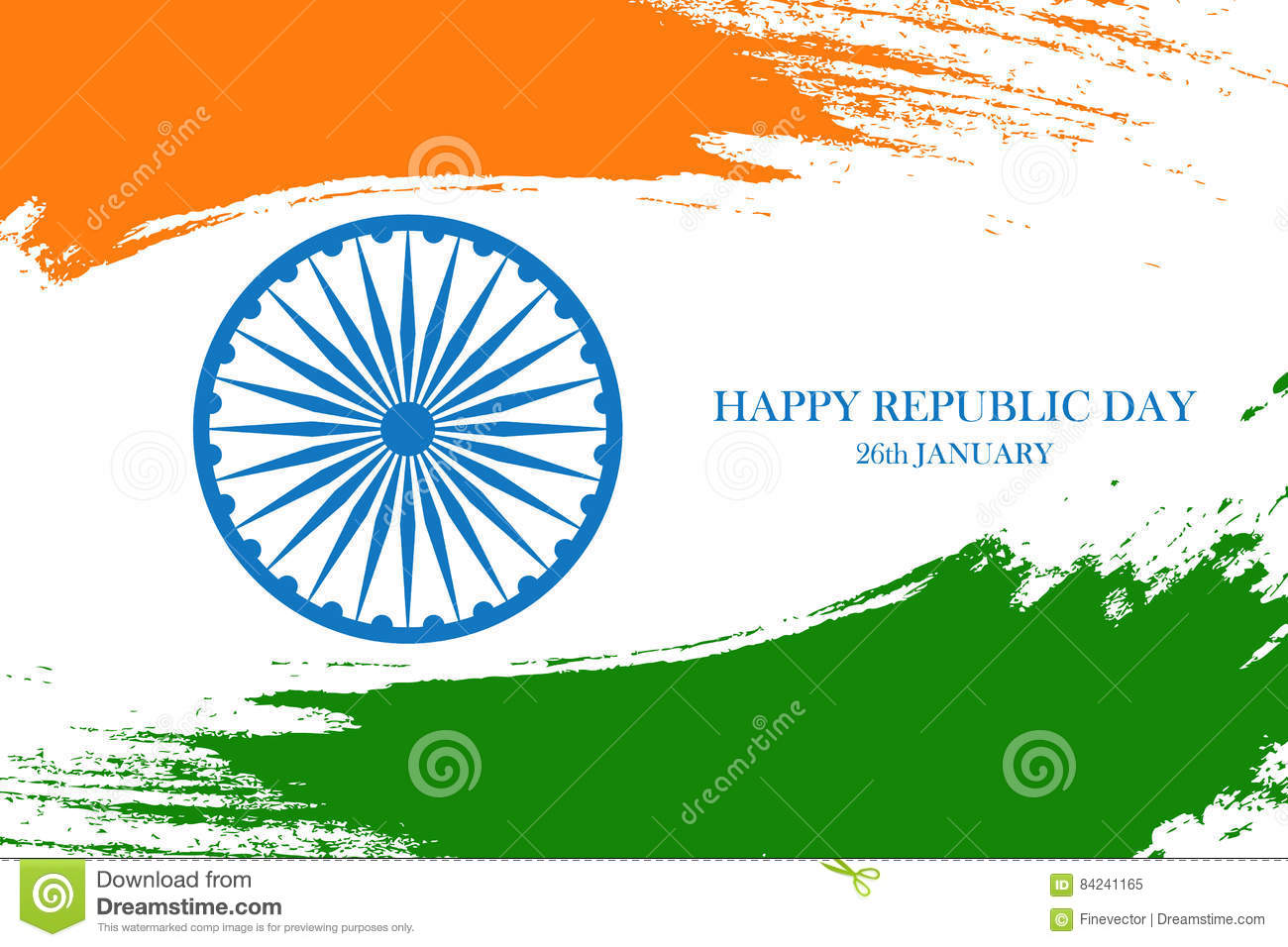 Indian happy republic day greeting card with ashoka wheel and brush download indian happy republic day greeting card with ashoka wheel and brush strokes in indian national m4hsunfo
