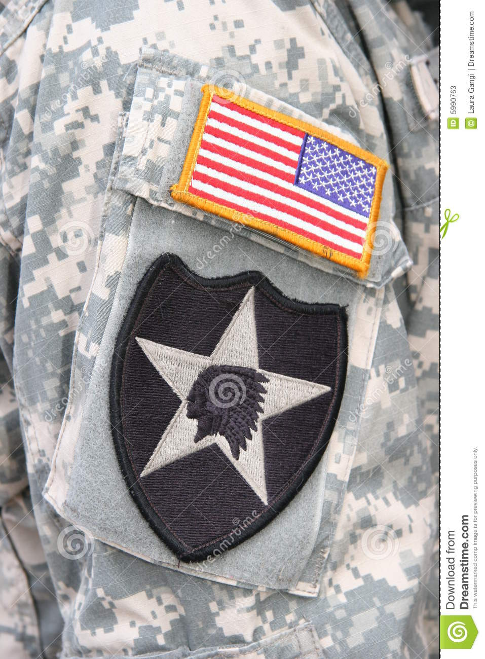 Indian Head And Flag Patch On Army Soldier Uniform Stock ... - photo#7