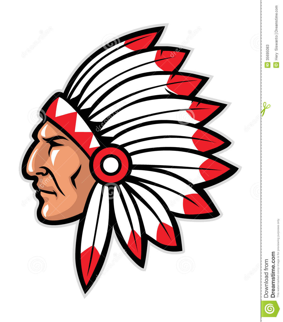 Vector of indian head mascot, suitable as a sport team or club mascot.