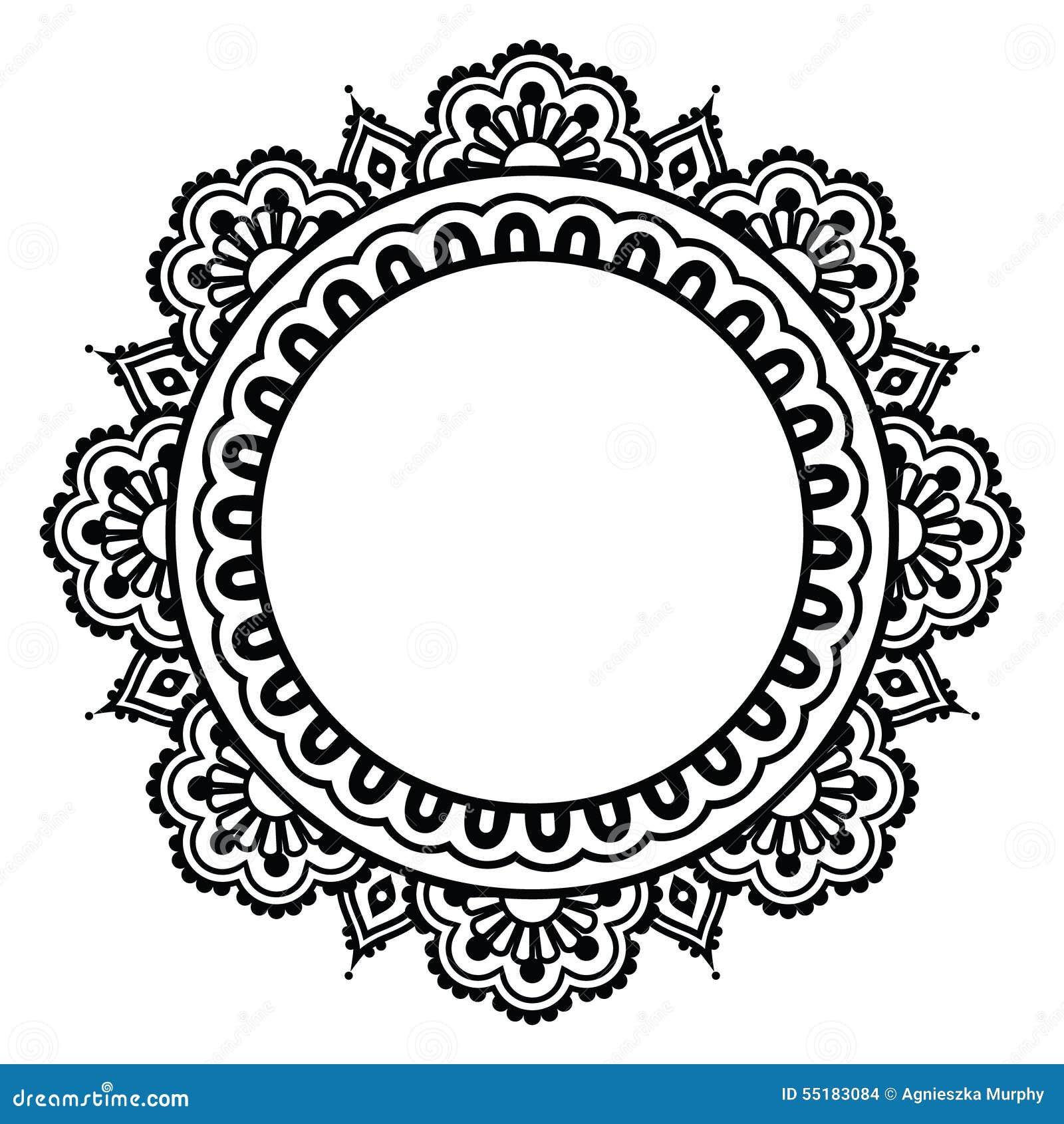 Indian Henna Floral Tattoo Round Pattern Mehndi Illustration