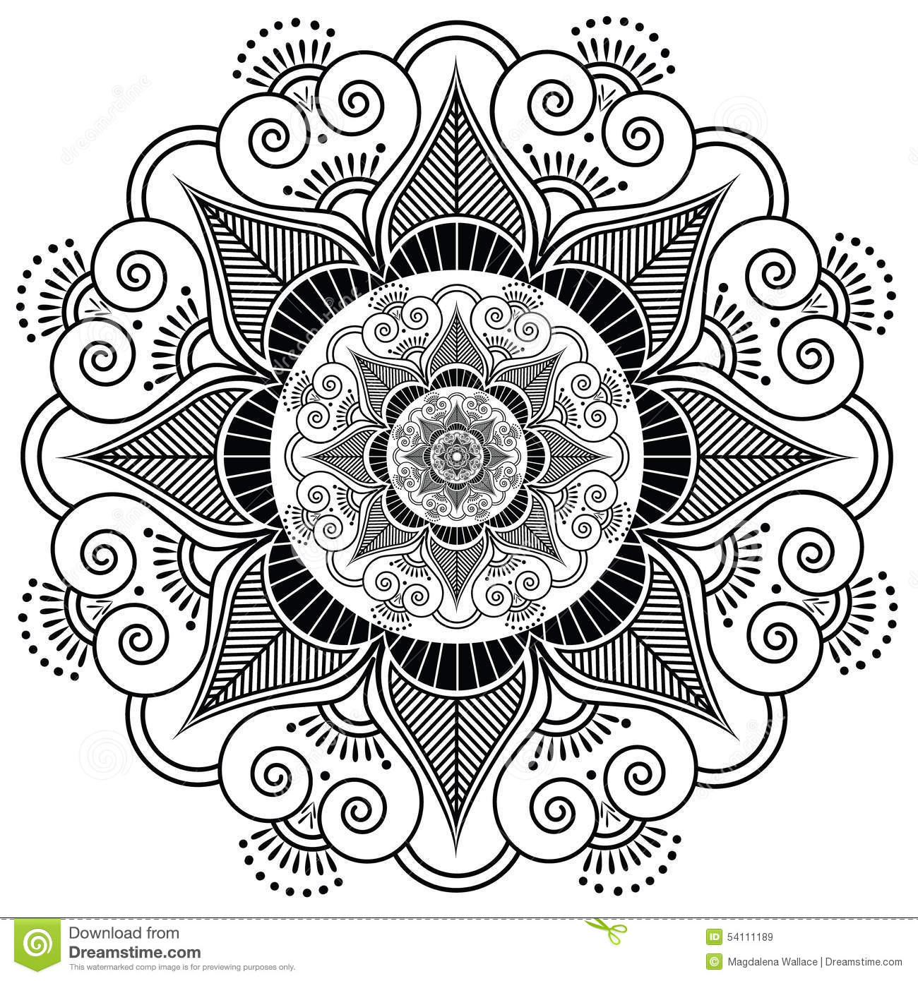 Indian Henna Tattoo Flower Stock Vector Image 54111189