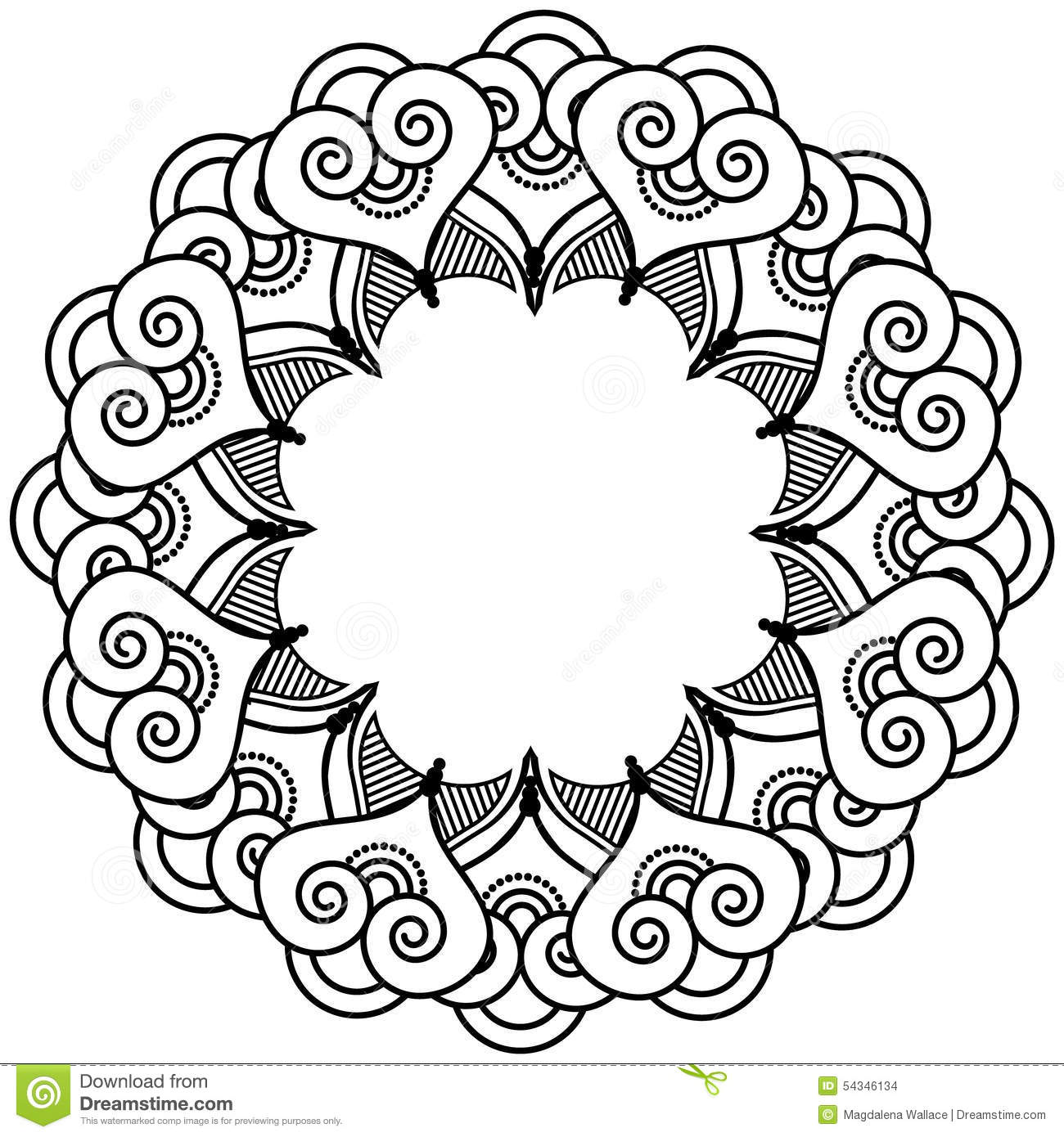 7472cf5f5 Royalty-Free Vector. Indian henna tattoo inspired heart shapes wreath with  leaves element type 2