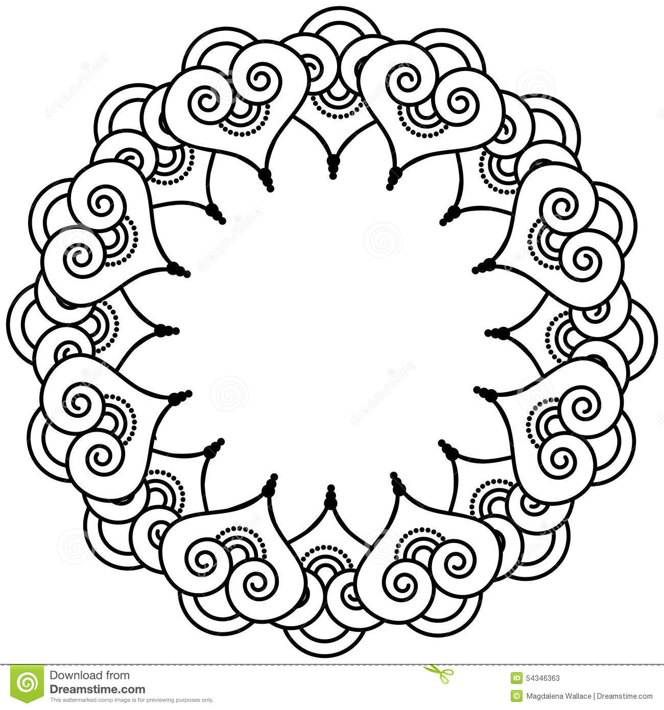 indian henna tattoo inspired heart shapes wreath with leaves element type 3 stock illustration. Black Bedroom Furniture Sets. Home Design Ideas