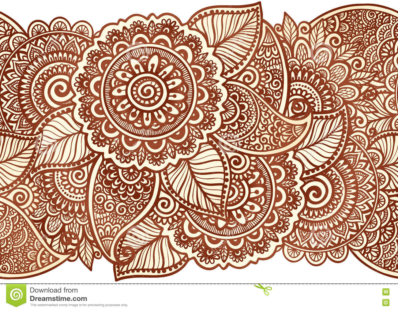 Indian Henna Tattoo Style Vector Floral Horizontal Seamless Pattern