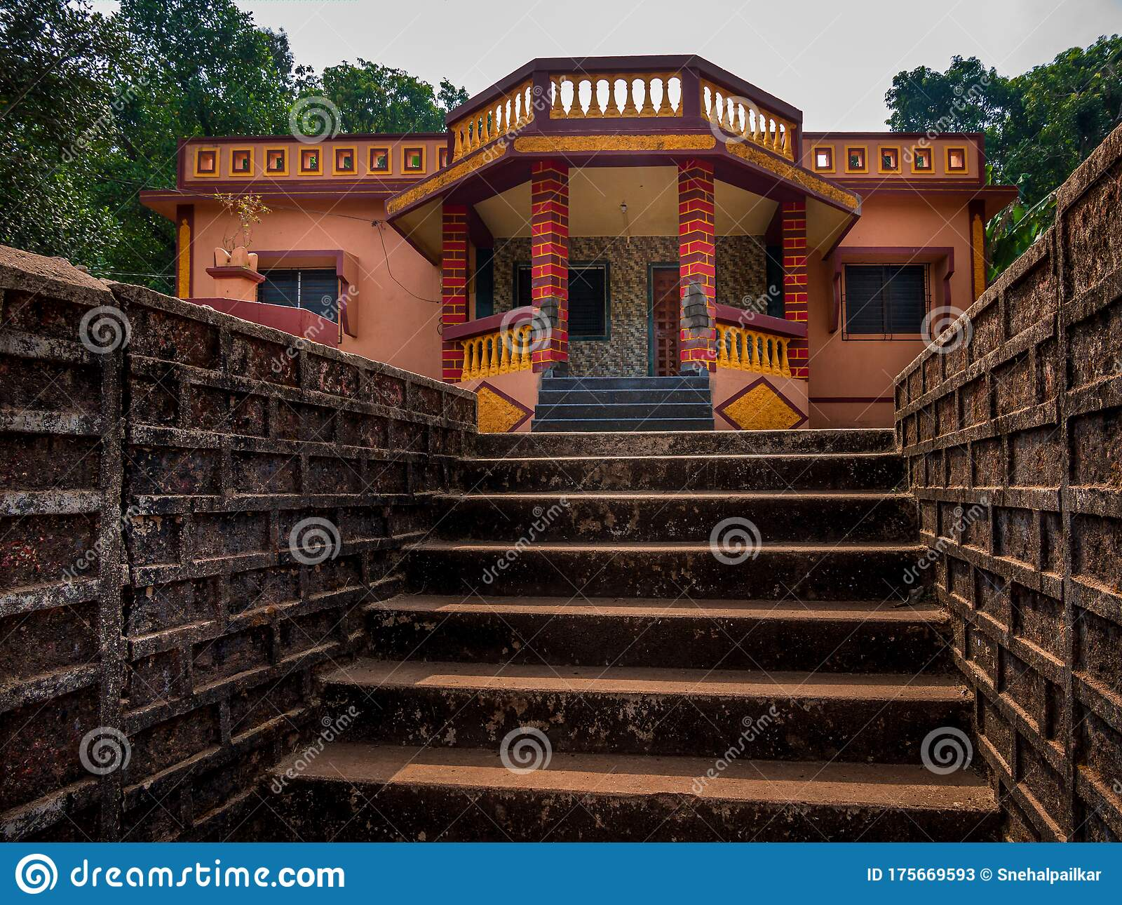 Indian House With Traditional Roof Design At Coastal Side Of Maharashtra Stock Image Image Of House Travel 175669593