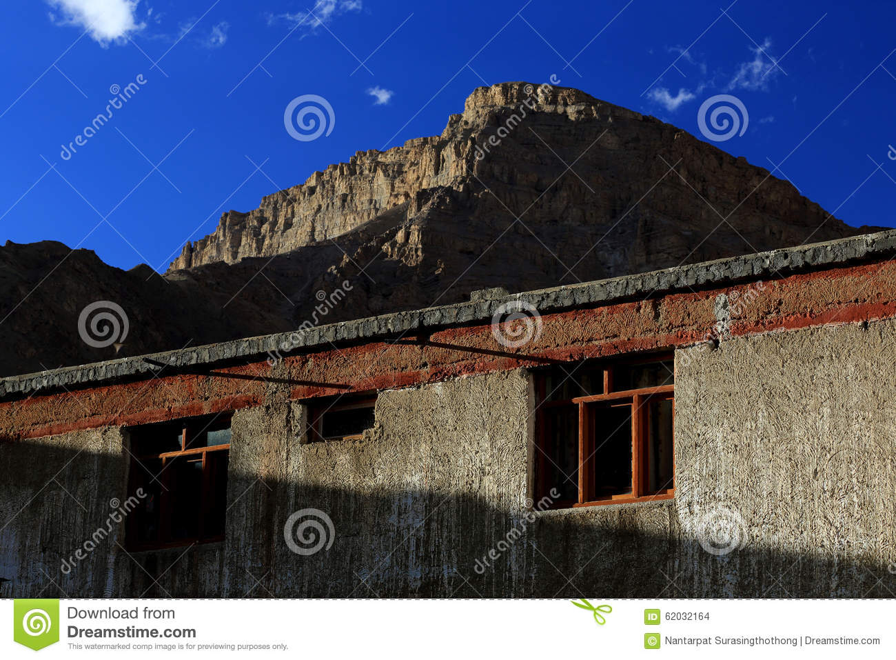 Indian house and windows with high rock mountain background nor stock photo